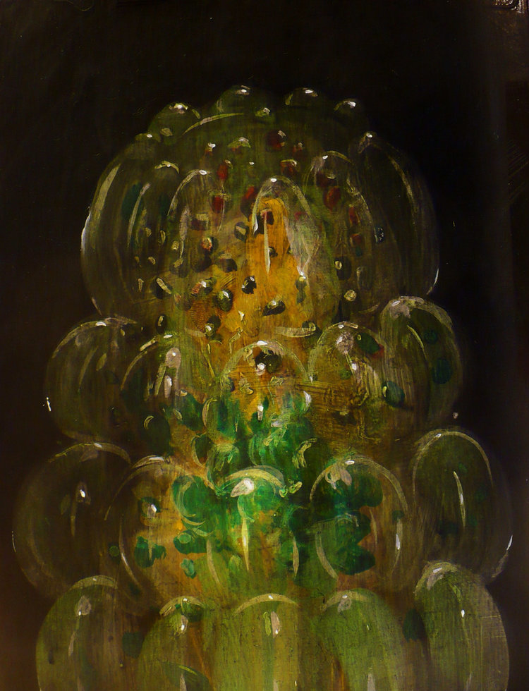 "Green Gelatin Study , acrylic on panel, 8"" x 6"", $425"