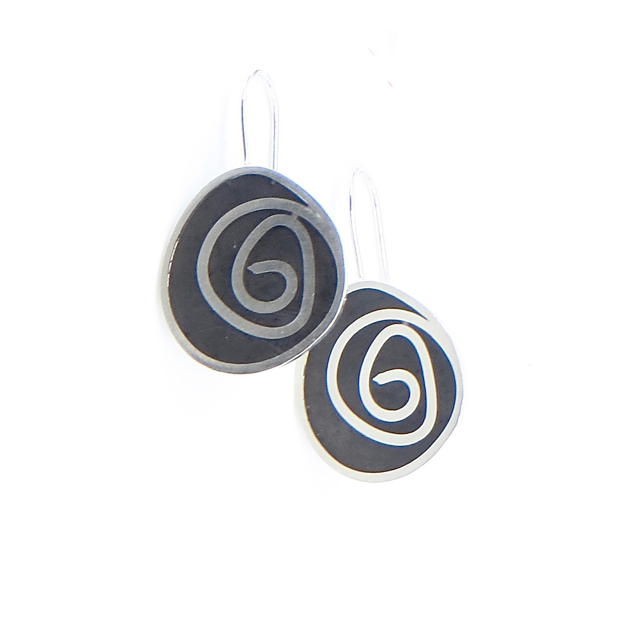 Swirl earrings, sterling silver with resin inlay, $90