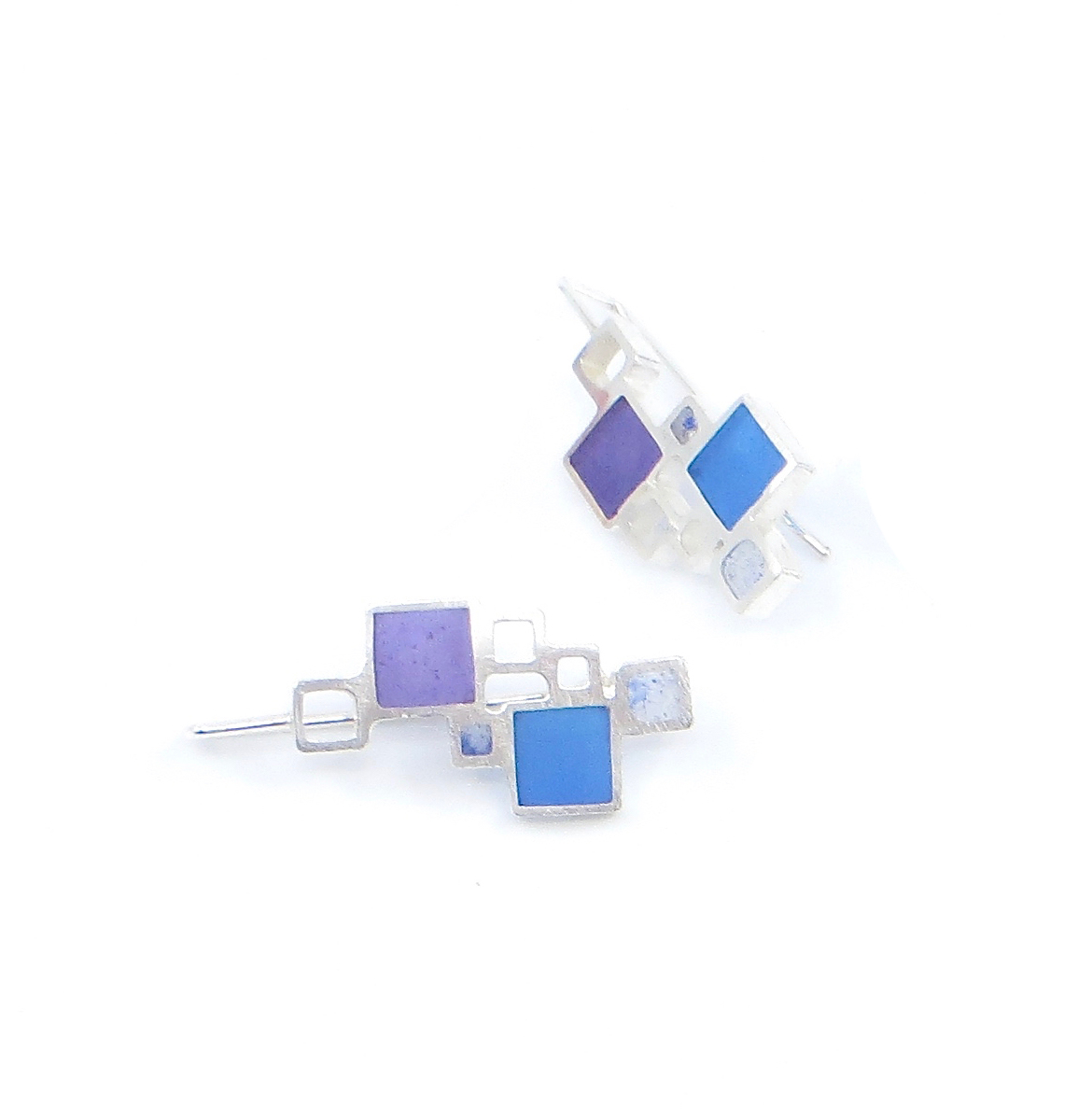 Open squares earrings, sterling silver with resin inlay, $95