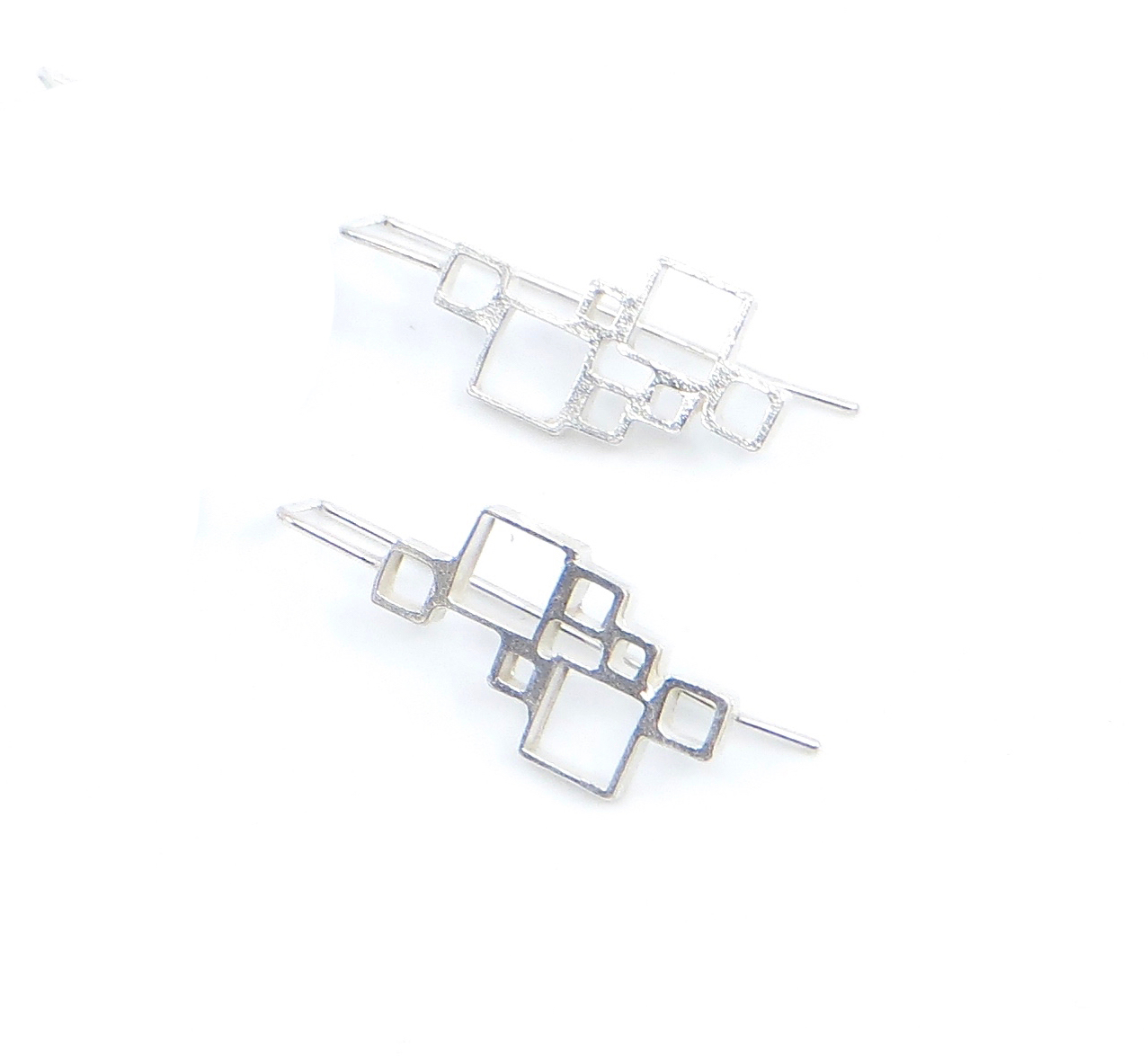 Open squares earrings, sterling silver, $80