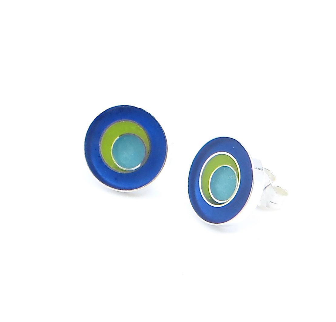 Target stud earrings, sterling silver with resin inlay, $70