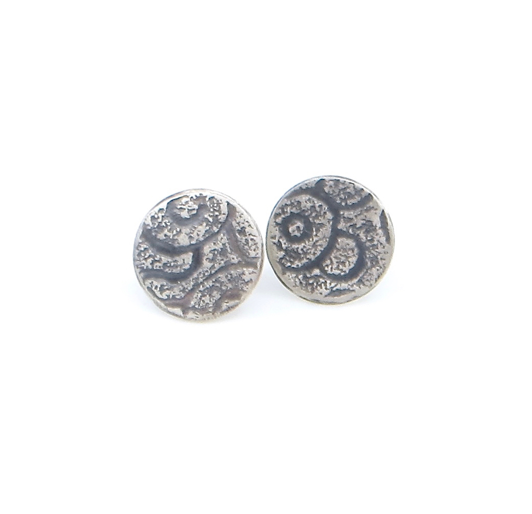 Stud earrings, etched sterling silver with patina, $80