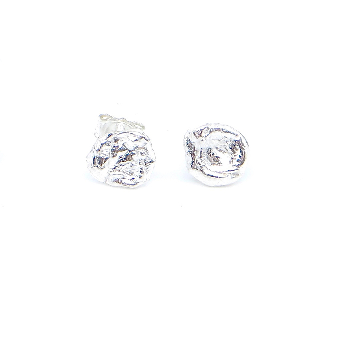 Stud earrings, water cast sterling silver, $80