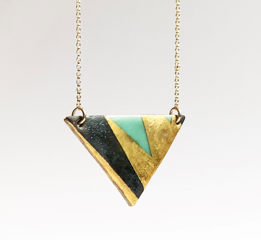 Wide gold triangle necklace, porcelain with black and celadon glaze, 14K gold filled chain, $85