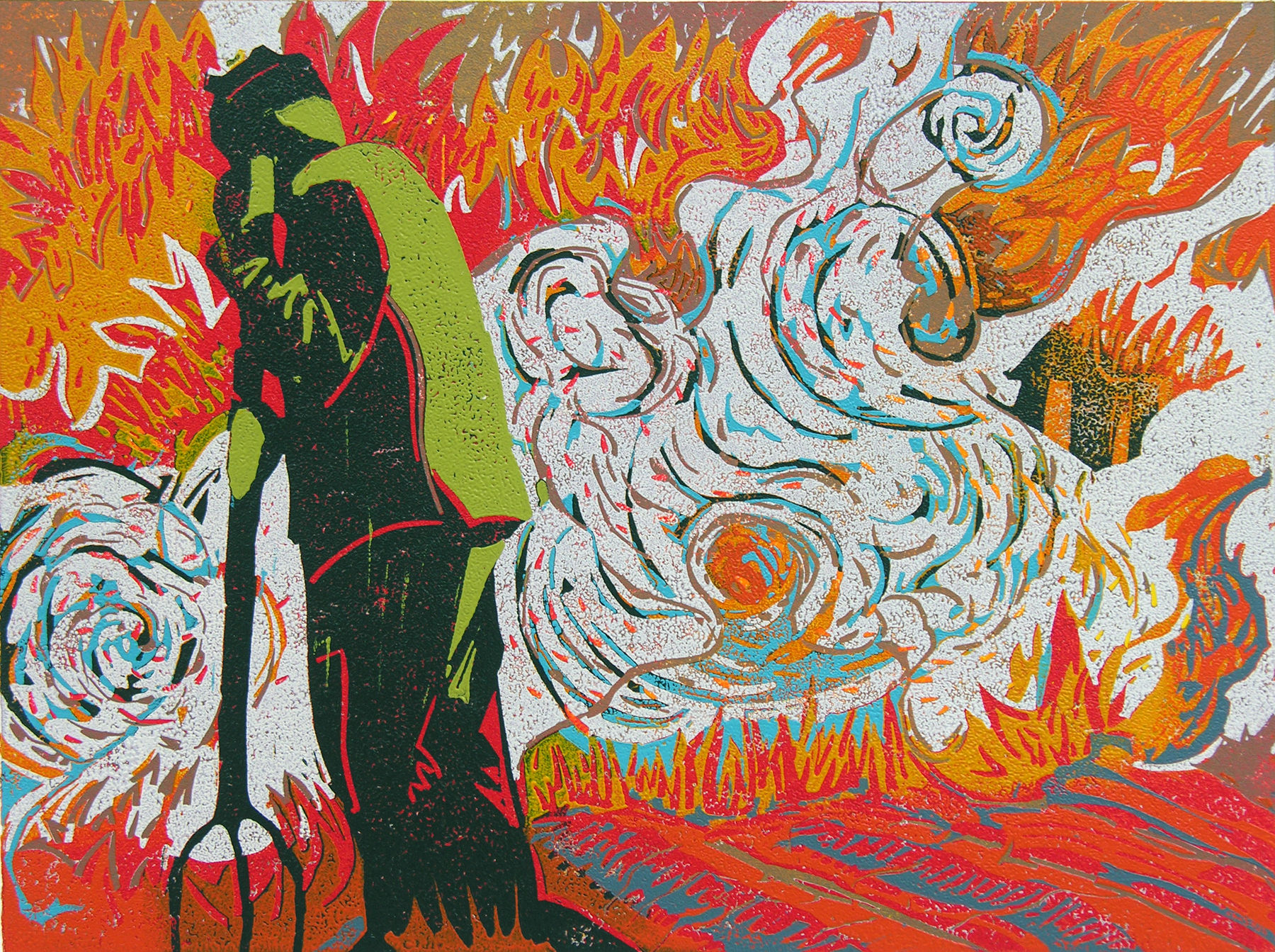 "Do Not Let the Flames Consume You (2/14) , reduction linoleum print on paper, 9"" x 12"" image size, $500"