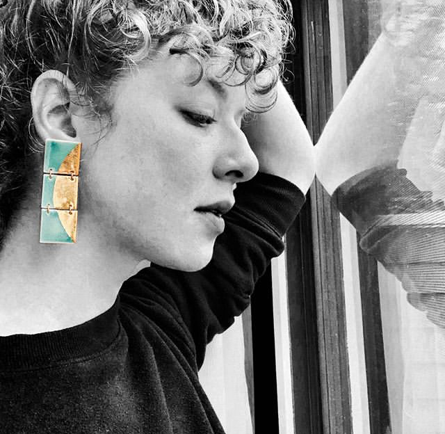 Turquoise triple-tiered porcelain square studs with gold luster half moon design, $175