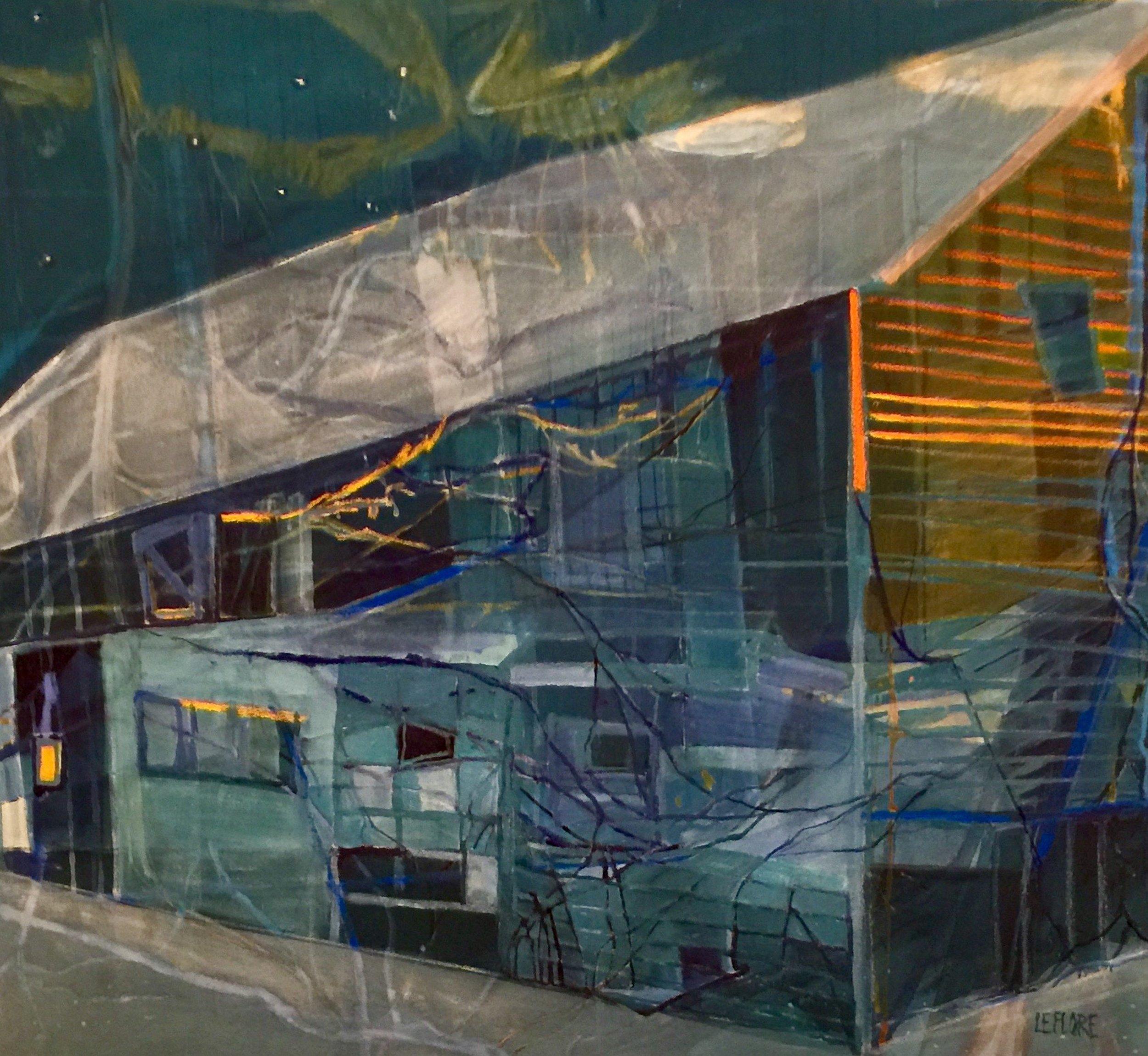 "Midnight Farm , acrylic and pastel on canvas, 33 1/2"" x 37 1/2"" framed"