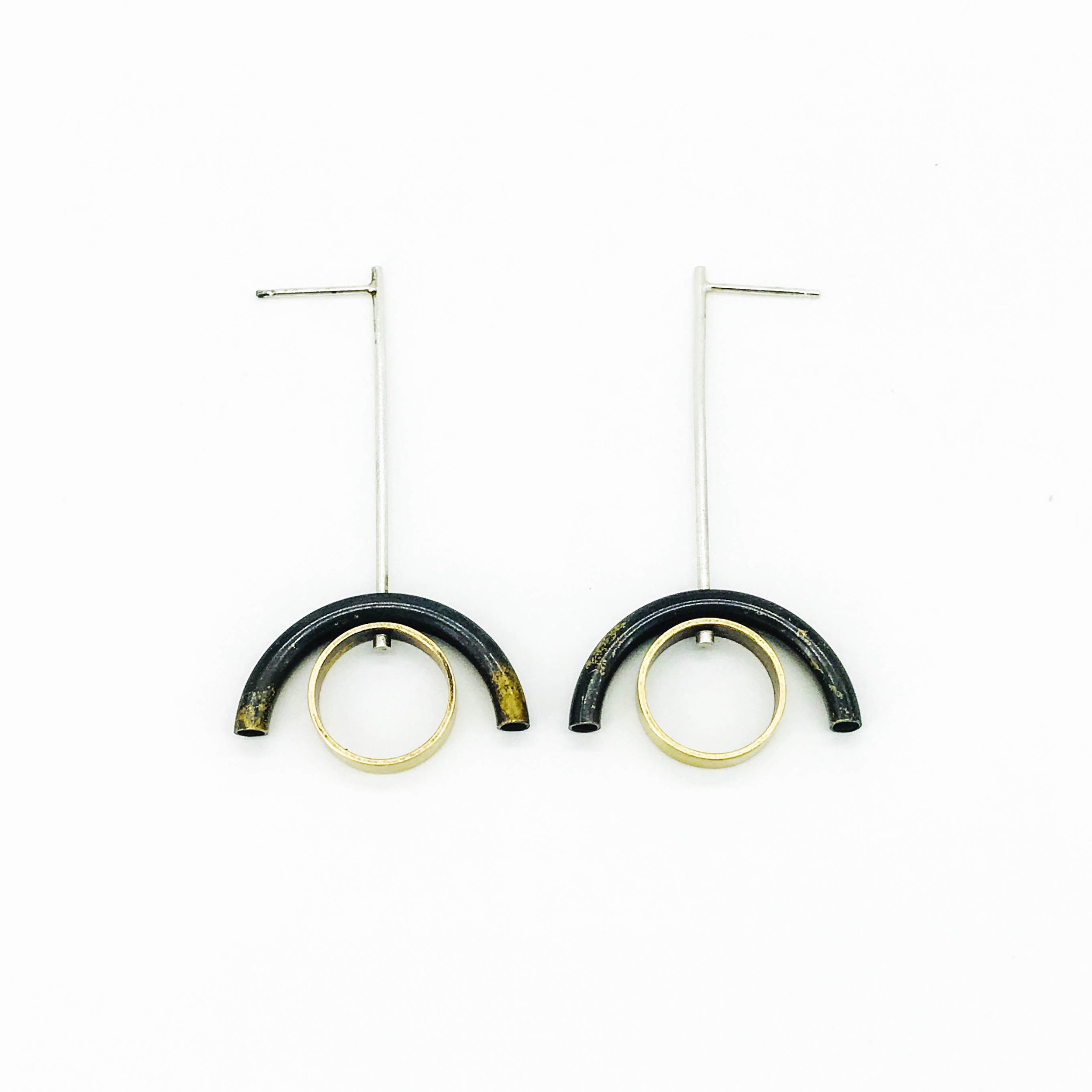 Tube spinner earrings, silver rod with oxidized brass tube and brass ring, $90