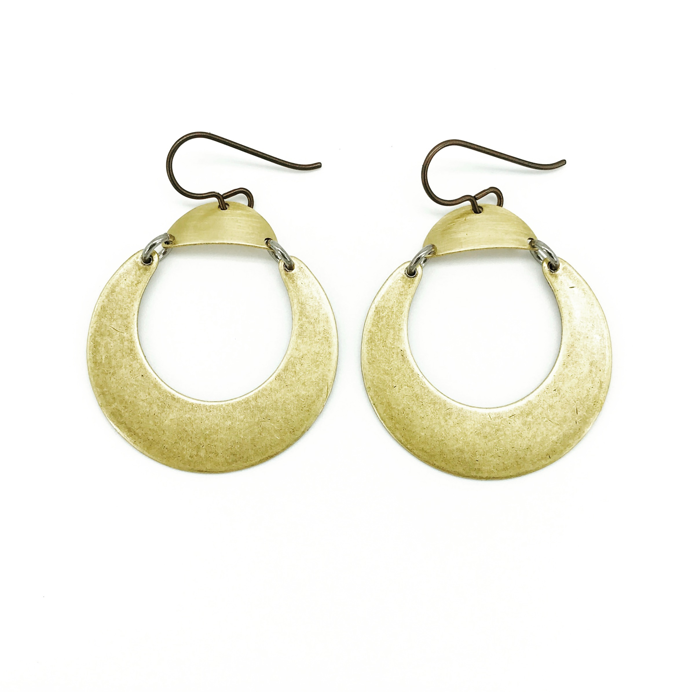 Lunula earrings, brass crescents with niobium earwires, $50