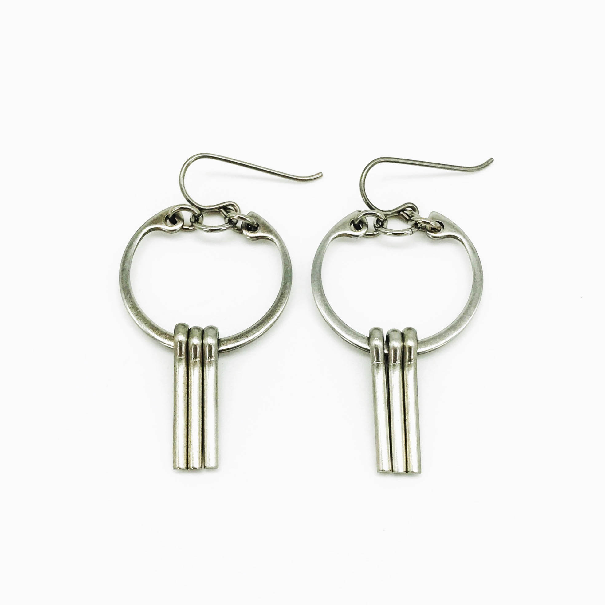 Centro earrings, stainless steel ring and pins with niobium earwires, $50