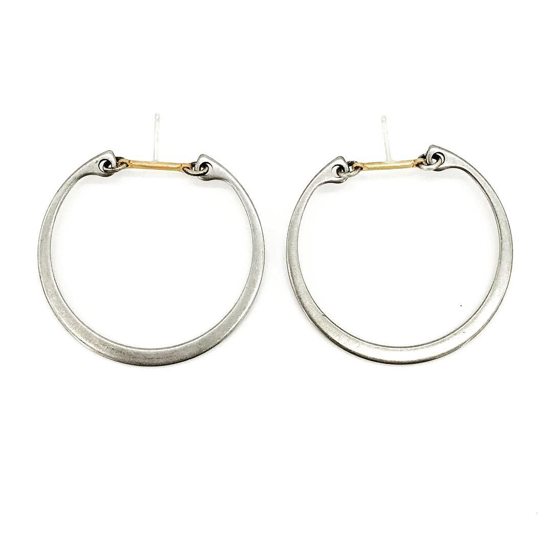 Big industrial hoop earrings, stainless steel hoop and brass bar with sterling silver post, $60