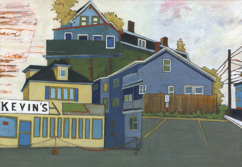 "Richards Ave and Kevin's , acrylic and graphite over collage on panel, 9"" x 13"", sold"