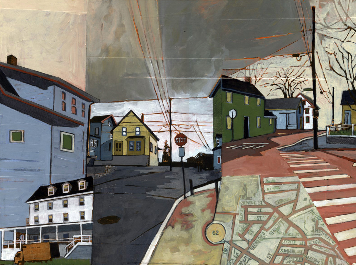 "Fifteen Years of Seacoast Neighborhoods #2, (Star Island and Rt 62 to Gloucester) , acrylic and graphite over collage on panel, 12"" x 16"", sold"