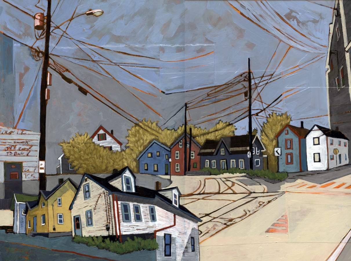"Fifteen Years of Seacoast Neighborhoods #4 (Woodbury Ave and Morning Street) , acrylic and graphite over collage on panel, 12"" x 16"", $700"