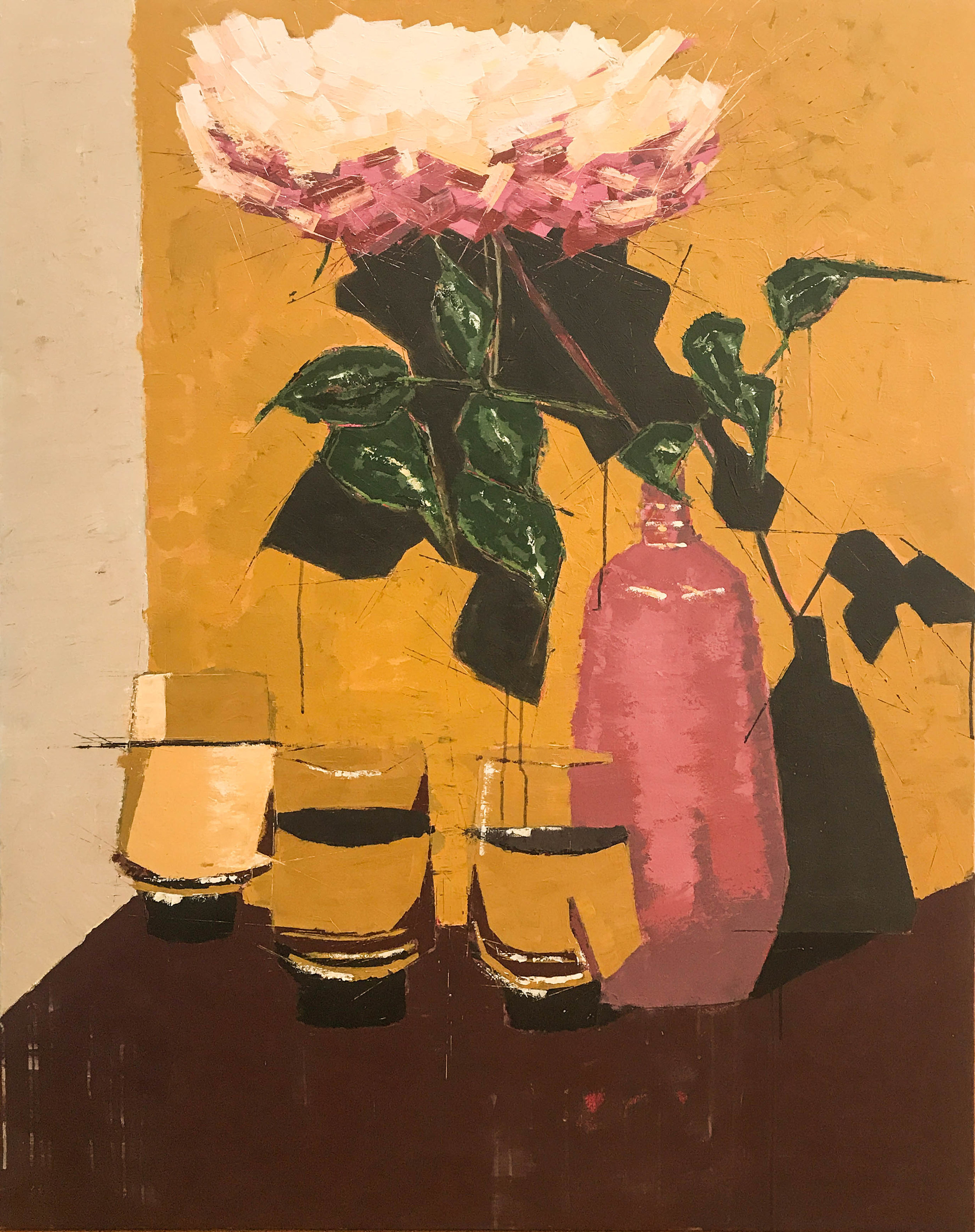 "Rose and Water , acrylic on canvas, 60"" x 48"", $4,500"