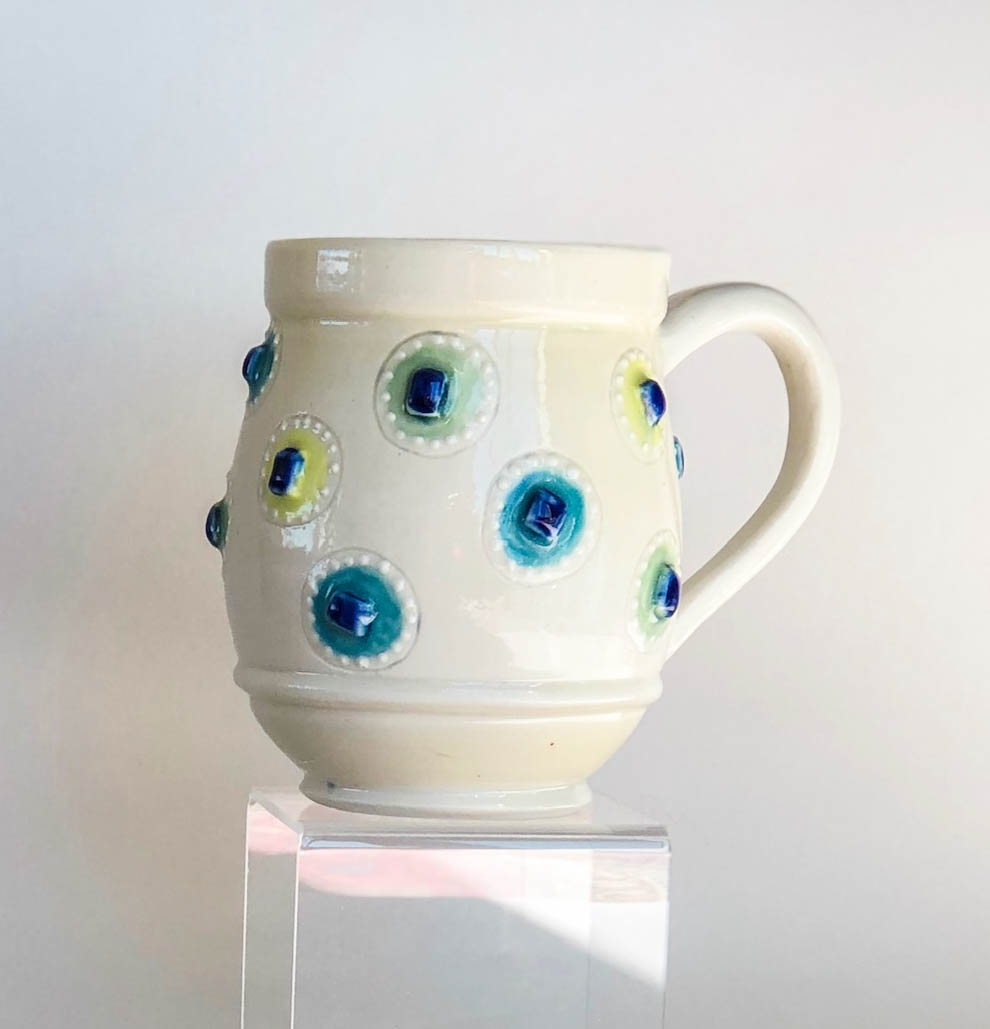 Raised square mug, wheel thrown porcelain with raised square and slip trail design, $42