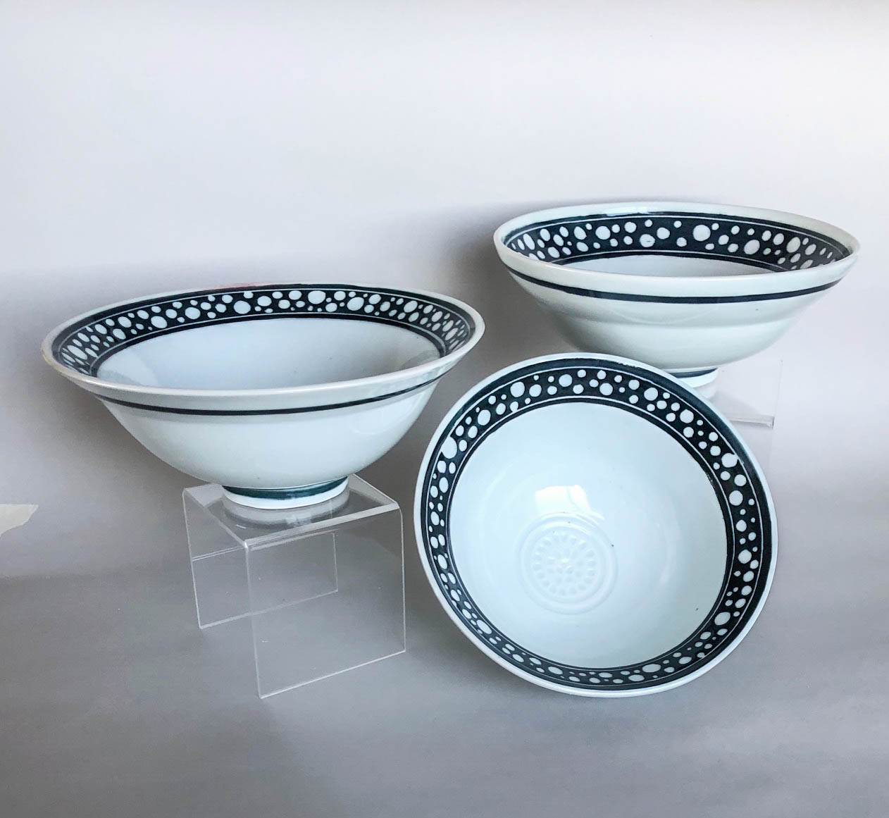 Medium sgrafitto bowls, hand carved slip design on wheel thrown porcelain, $42 each