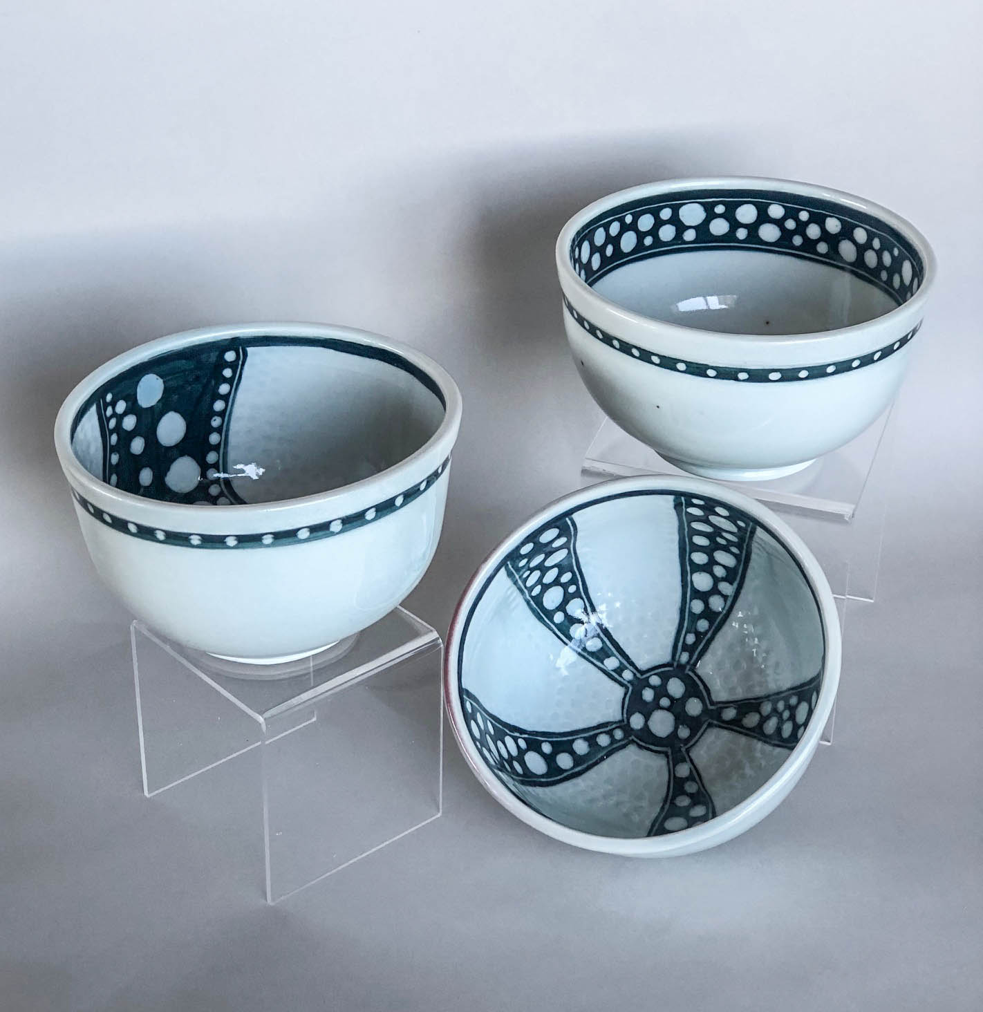 Small sgraffito bowls, hand carved slip design on wheel thrown porcelain, $42 each