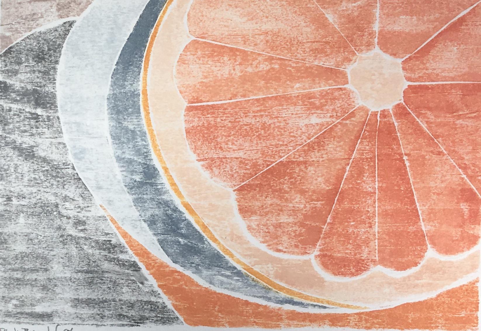 "Pink Breakfast , white line woodcut monoprint, 10 1/2"" x 12 1/4"" matted, $100"