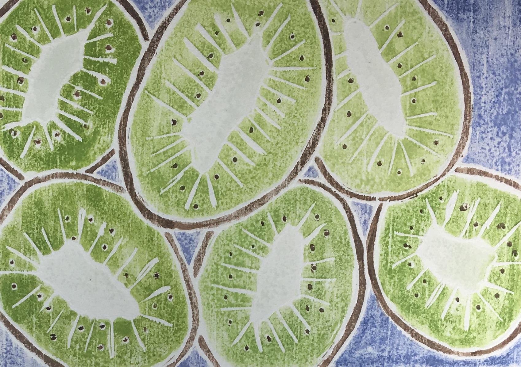 """Kiwi Cuts , white line woodcut monoprint, 10 1/2"""" x 12 1/4"""" matted, $100"""