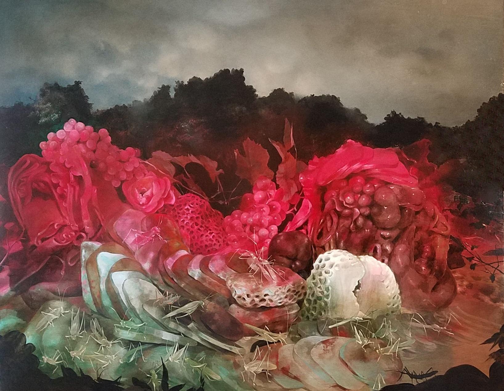 "Nicole Duennebier ,  Sleeping while Eating , acrylic on panel, 24"" x 30"", $3,250"