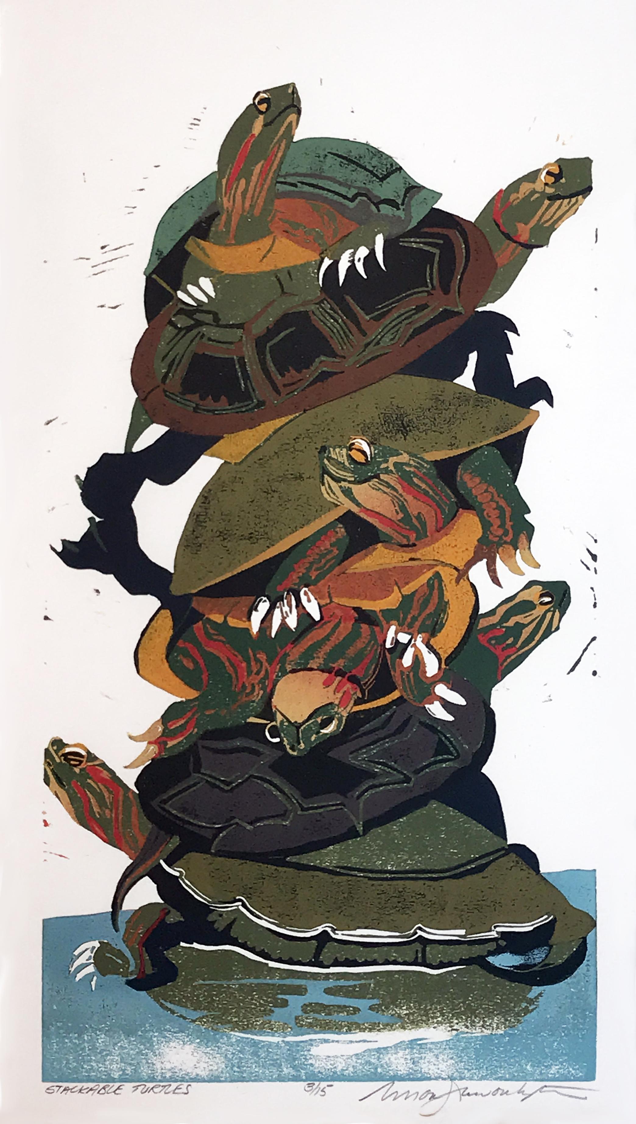 """Susan Jaworski-Stranc ,  Stackable Turtles (2/15) , reduction linoleum print on paper, 24"""" x 15"""" framed, $750"""