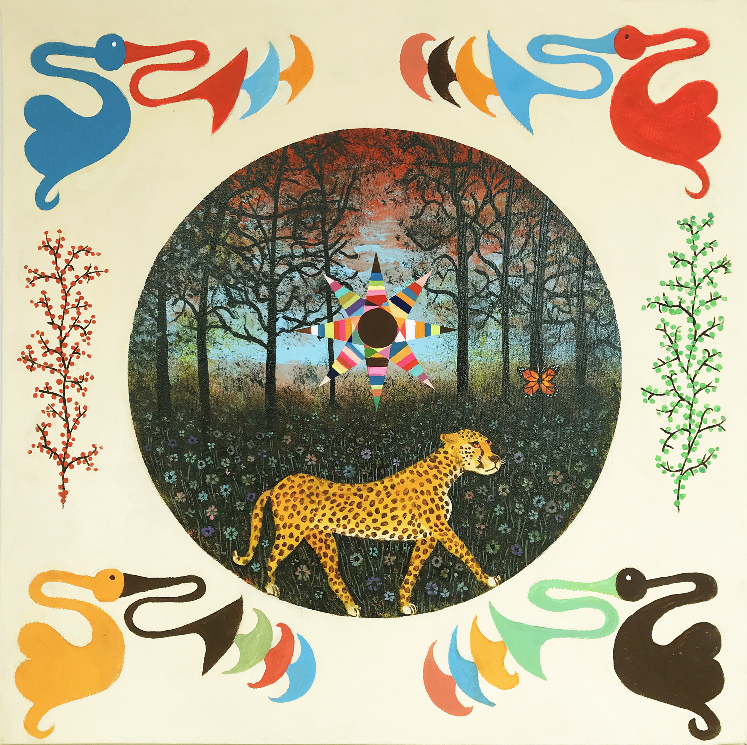 "Benjamin Styer ,  Cheetah Poem , acrylic on canvas, 19 3/4"" x 19 3/4"", $1,500"