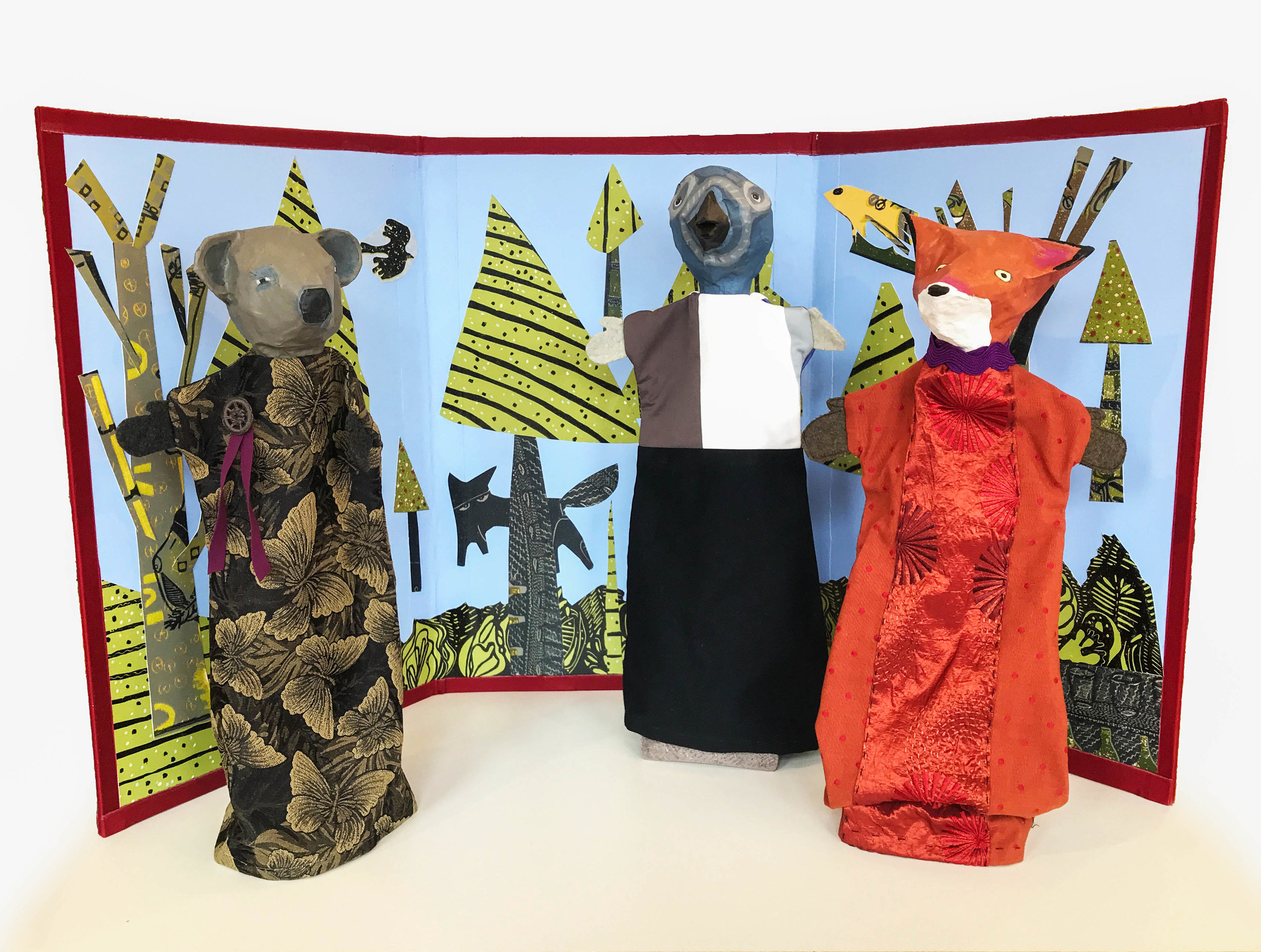 Forest Triptych , papier-mâché and fabric puppets, screen with collaged prints, ink, and acrylic on masonite, $150 for individual puppets, $450 for screen