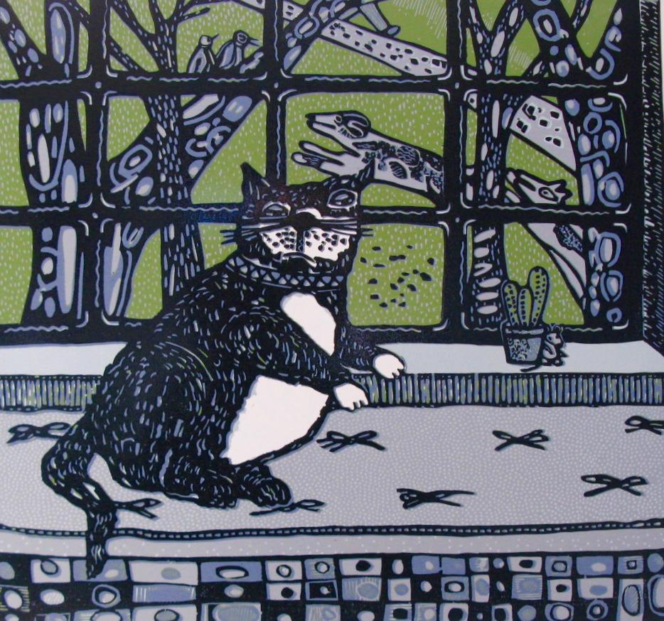 """Fat Cat on a Windowseat (9/14) , 5-color reduction linoleum print, 22"""" x 24 1/2"""" sheet, $350"""