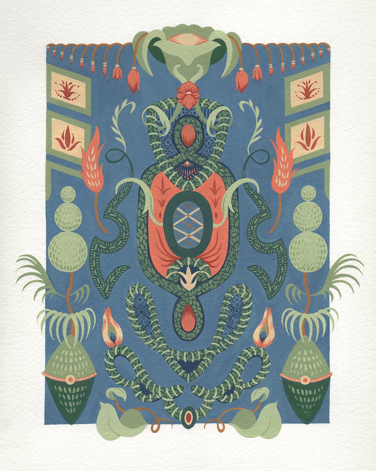"Blue Dream Scheme Garden , gouache on paper, 15"" x 11 3/4"" framed, $600"