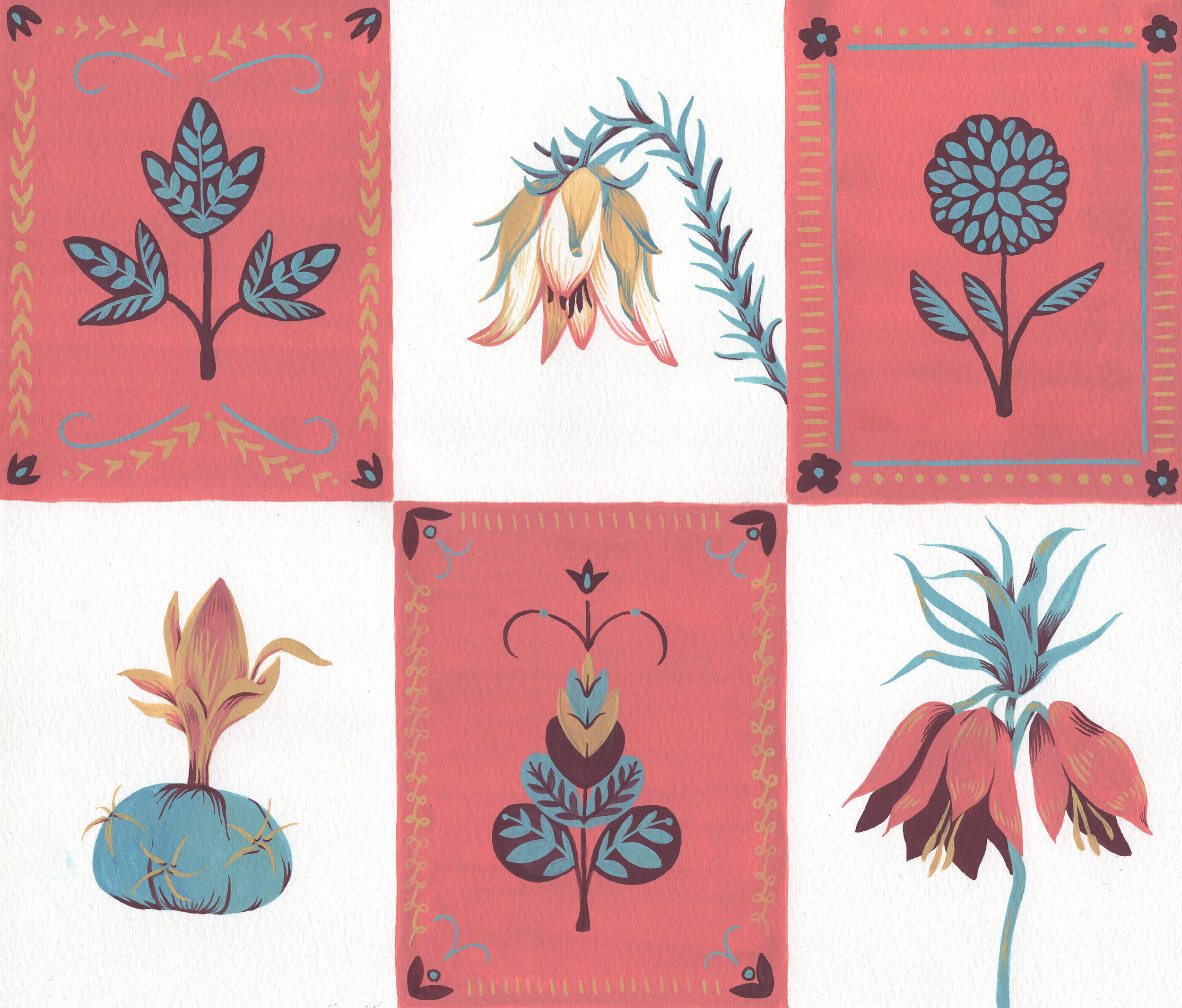 "Botanical Quilt , gouache on paper, 9"" x 11"", $475"