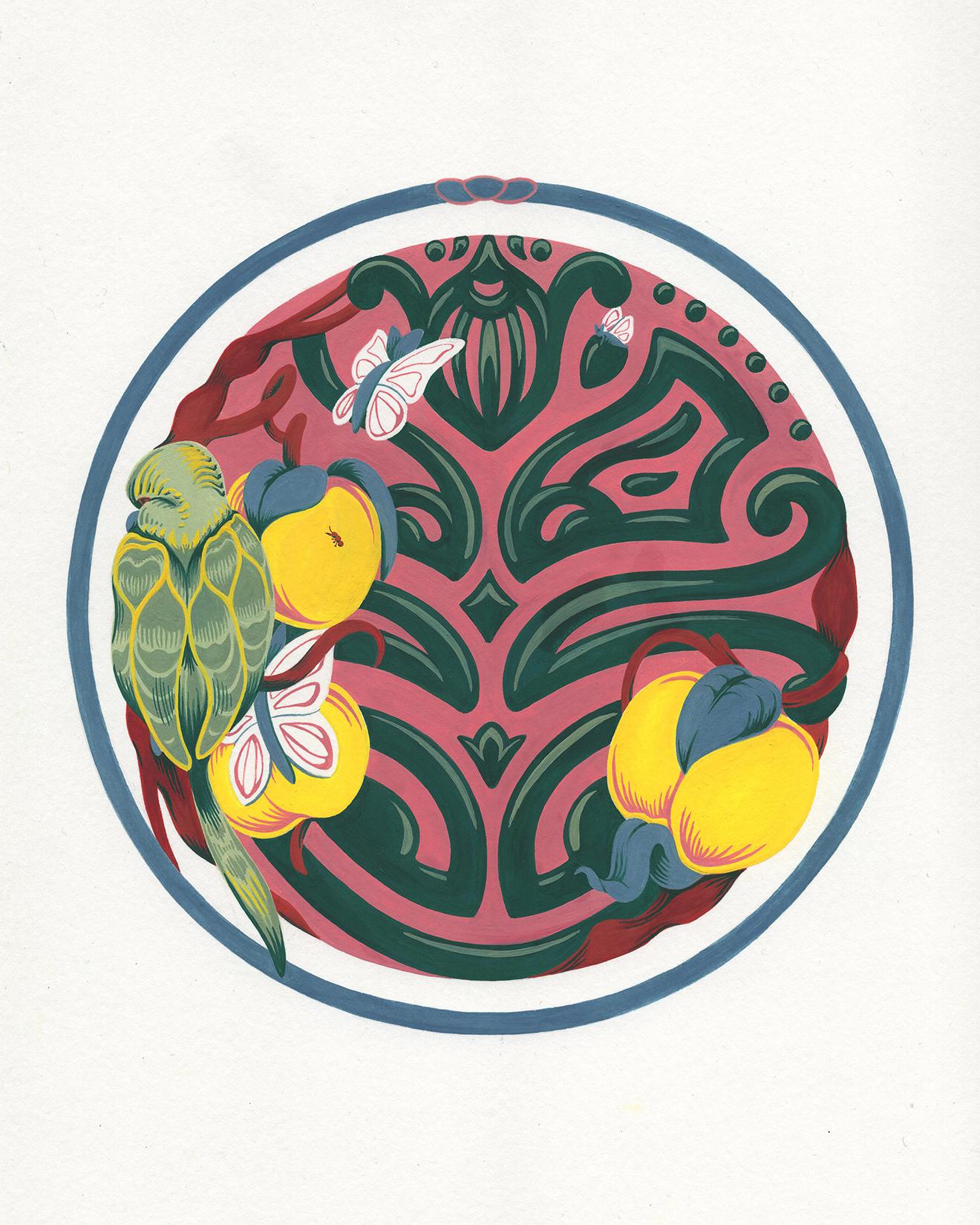 """Parakeet Garden Maze , gouache on paper, 11"""" x 9"""", $475"""