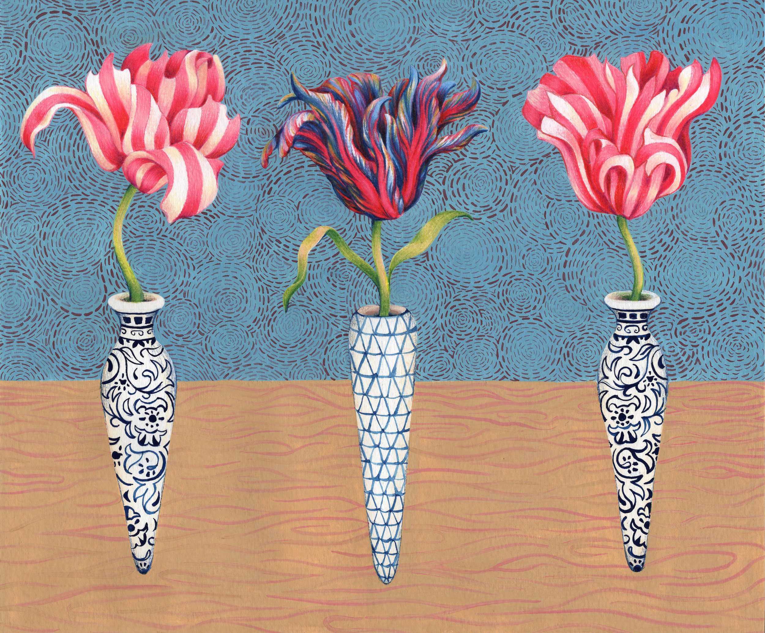 "Three Striped Tulips , gouache and colored pencil on paper, 11 3/4"" x 15"" framed, $600"