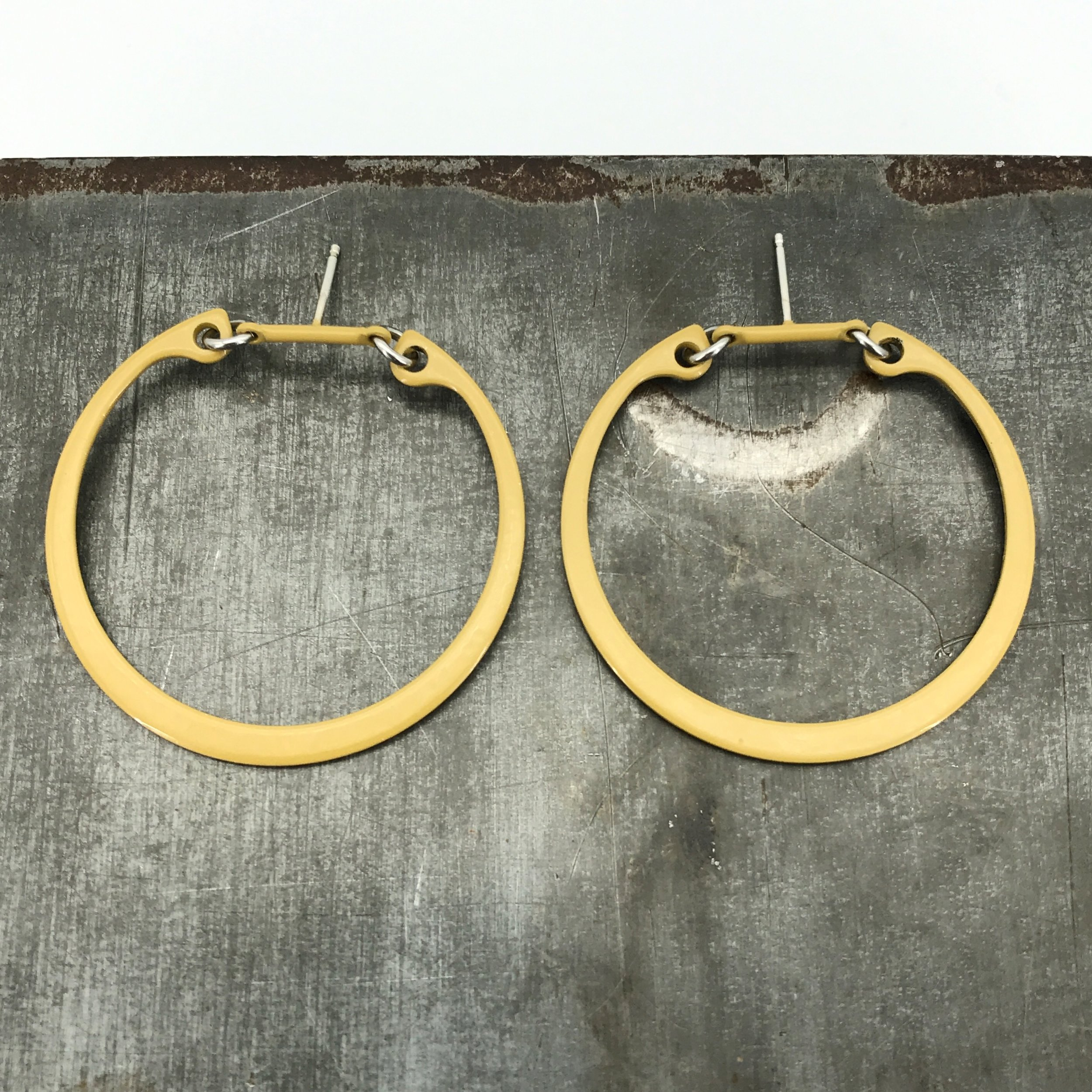 Industrial Hoop post earrings, lichen powder coated steel hoops with sterling silver posts, $70