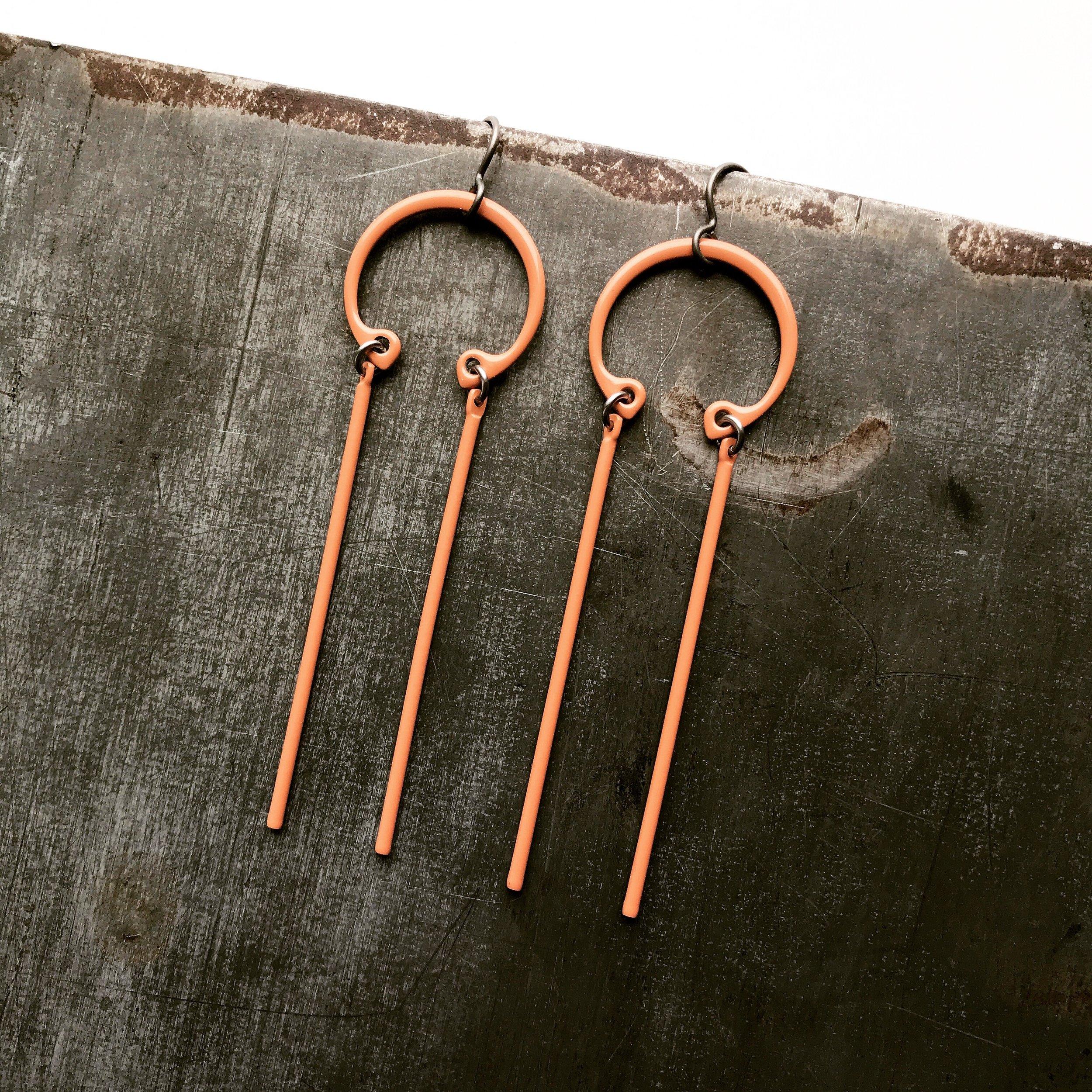 Industrial Stick earrings, niobium ear wire, sienna powder coated steel components, $70