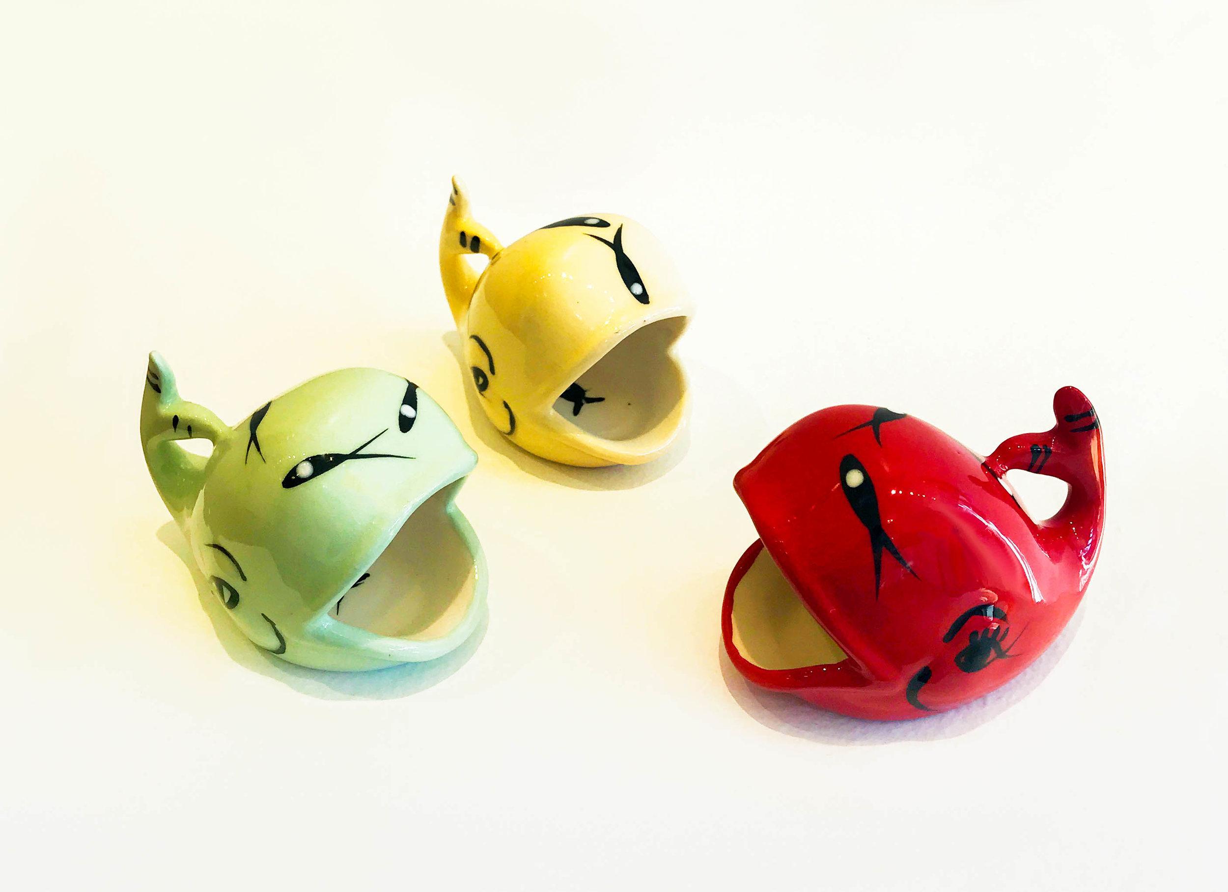 Ceramic mini whale, various colors, $29 each