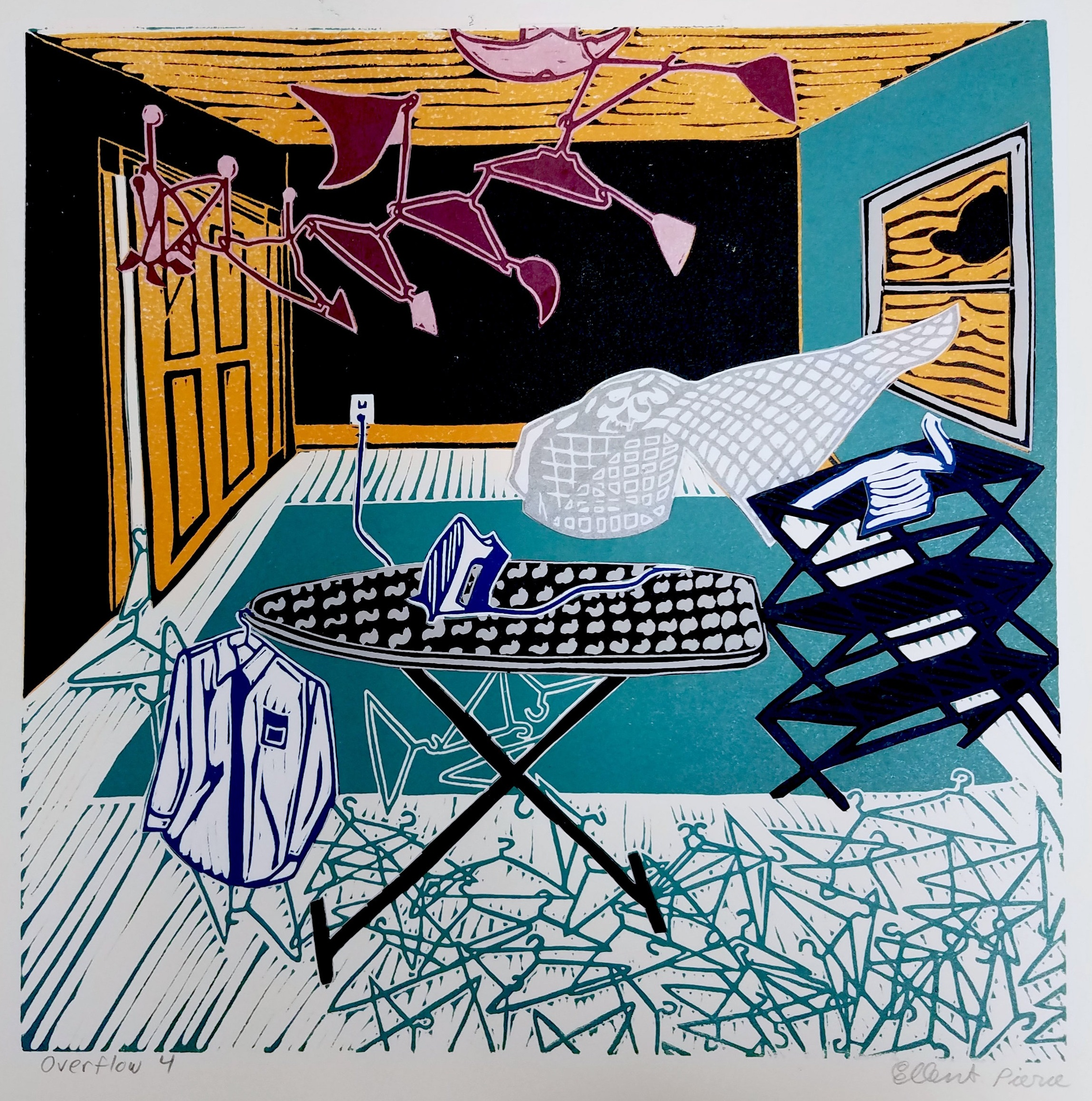 "Ellen Shattuck Pierce ,  Ironing 4 , collaged linoleum print, variable edition, 16 3/4"" x 16 3/4"" framed, $450"