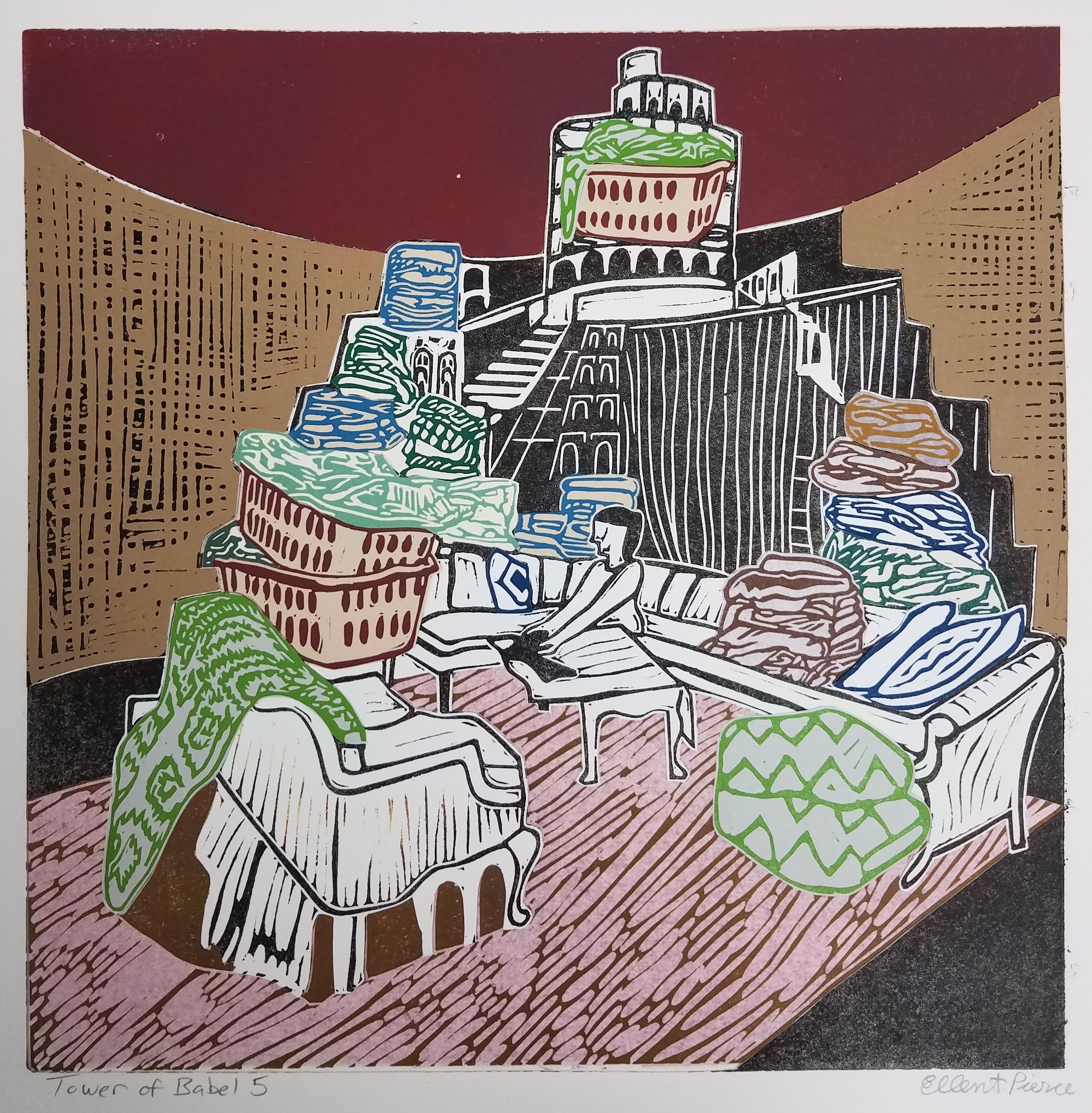 "Ellen Shattuck Pierce ,  Tower of Babel 5 , collaged linoleum print, variable edition, 16 3/4"" x 16 3/4"" framed, $450"