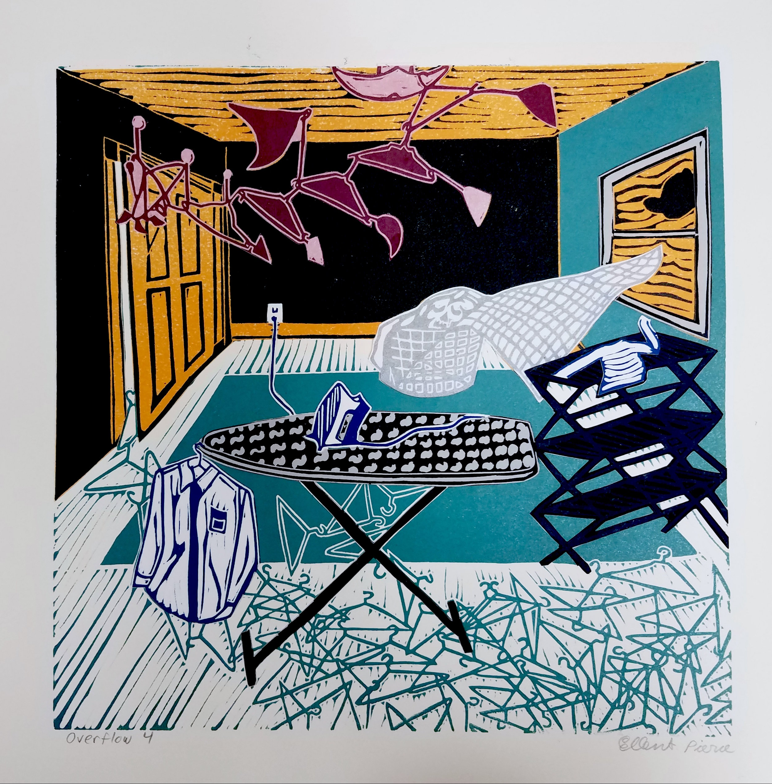 "Ironing 4 , collaged linoleum print, variable edition, 16 3/4"" x 16 3/4"" framed, $450"