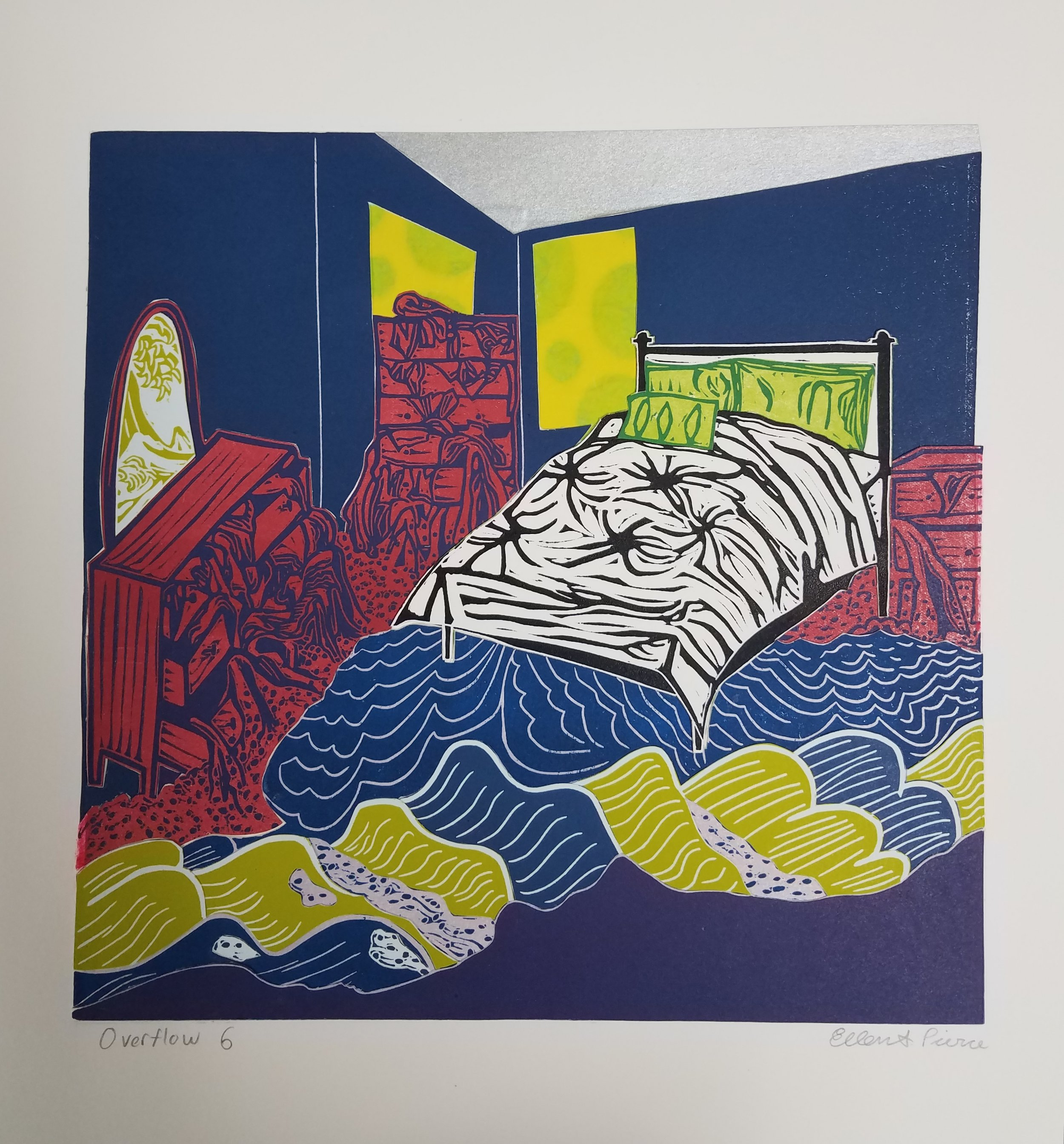 "Overflow 6 , collaged linoleum print, variable edition, 16 3/4"" x 16 3/4"" framed, $450"