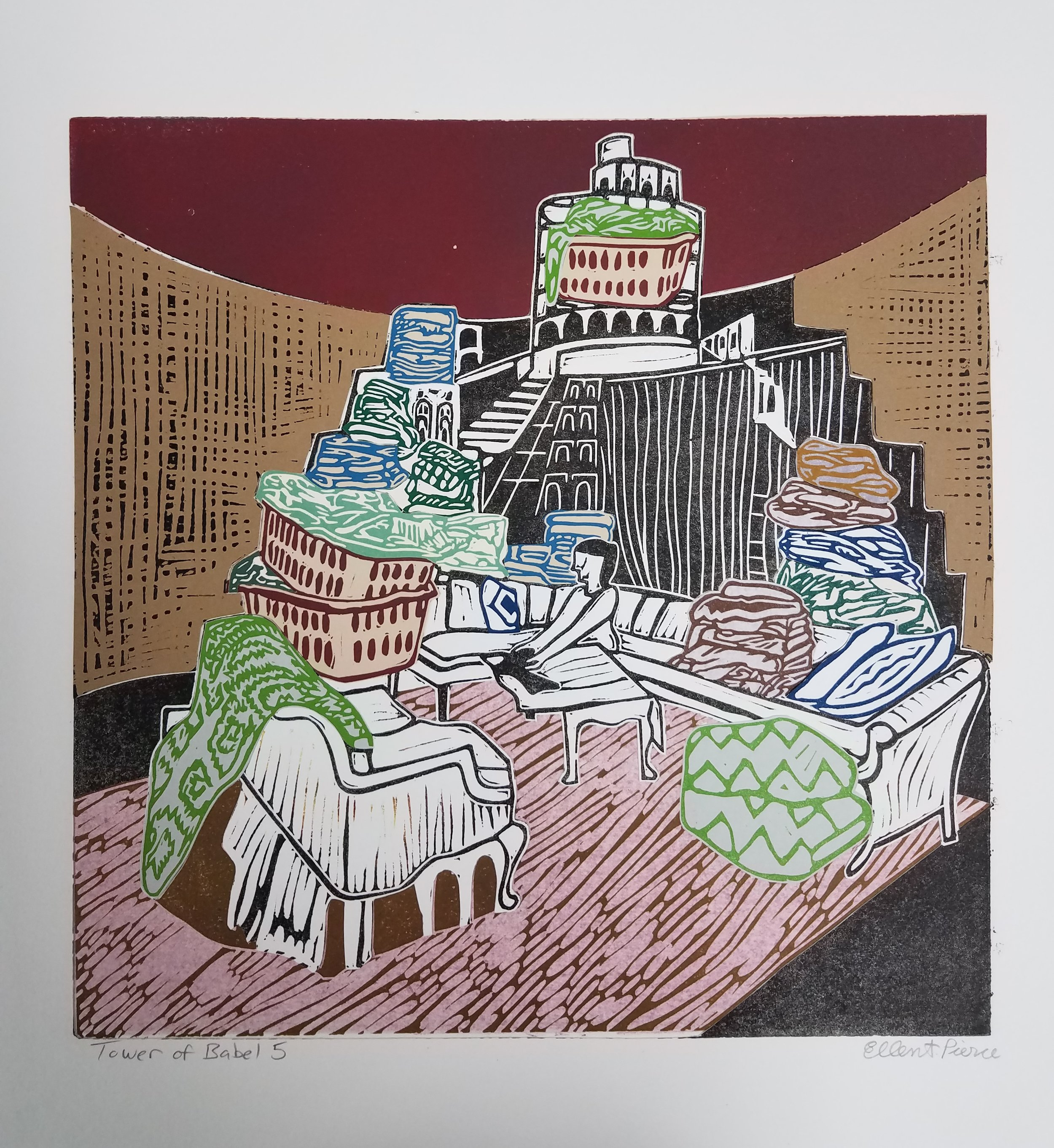 "Tower of Babel 5 , collaged linoleum print, variable edition, 16 3/4"" x 16 3/4"" framed, $450"