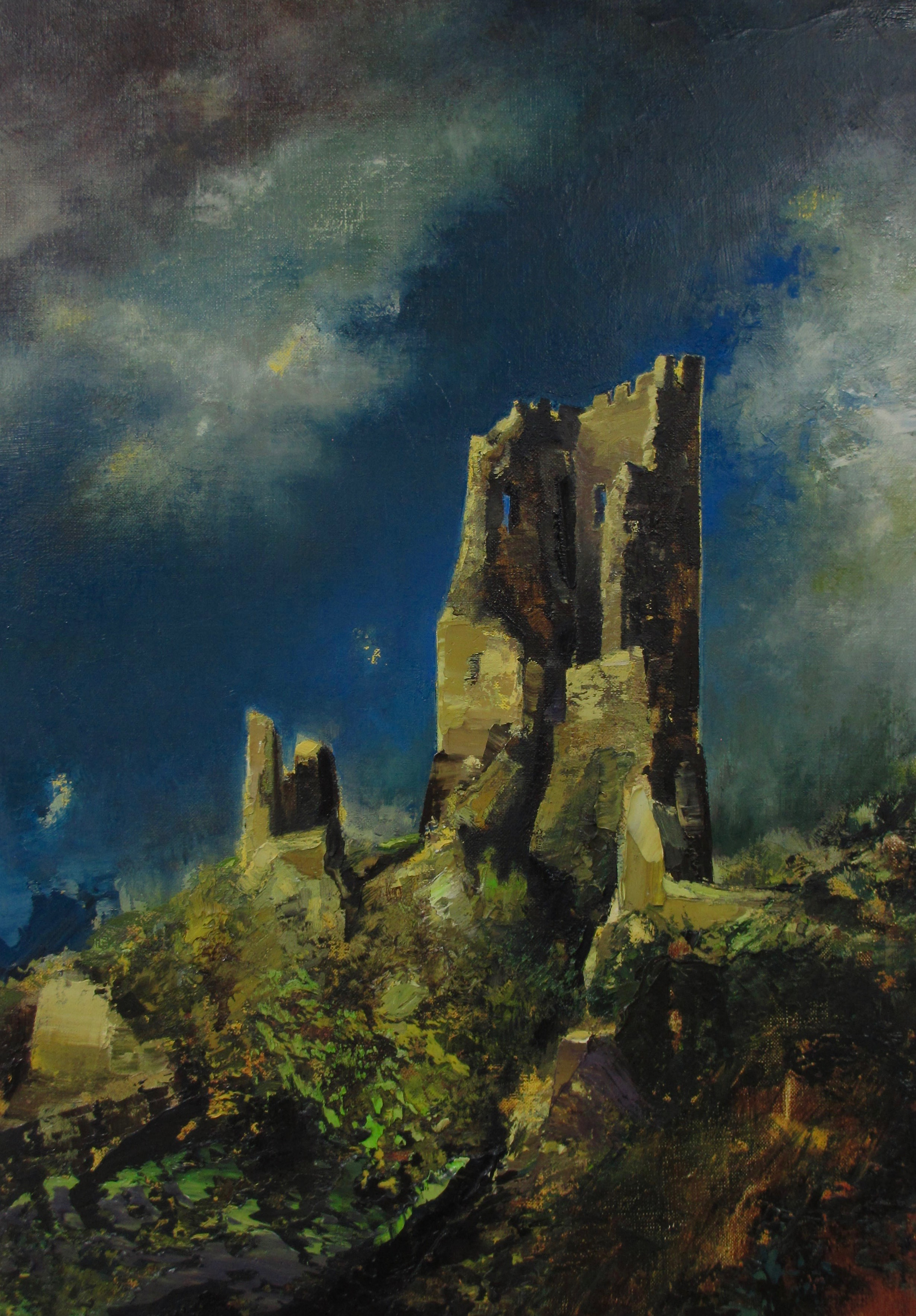 "Ruin/Drachenfels (1932) , oil on linen, 21"" x 15"" framed, $2,500"