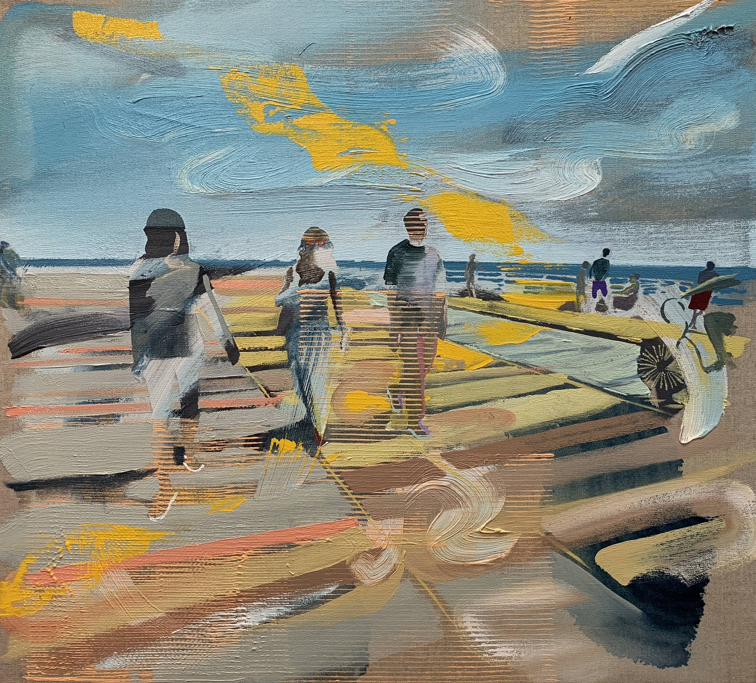 "Andrew Fish ,  Boardwalk , oil on linen, 18"" x 20"", $2,000"