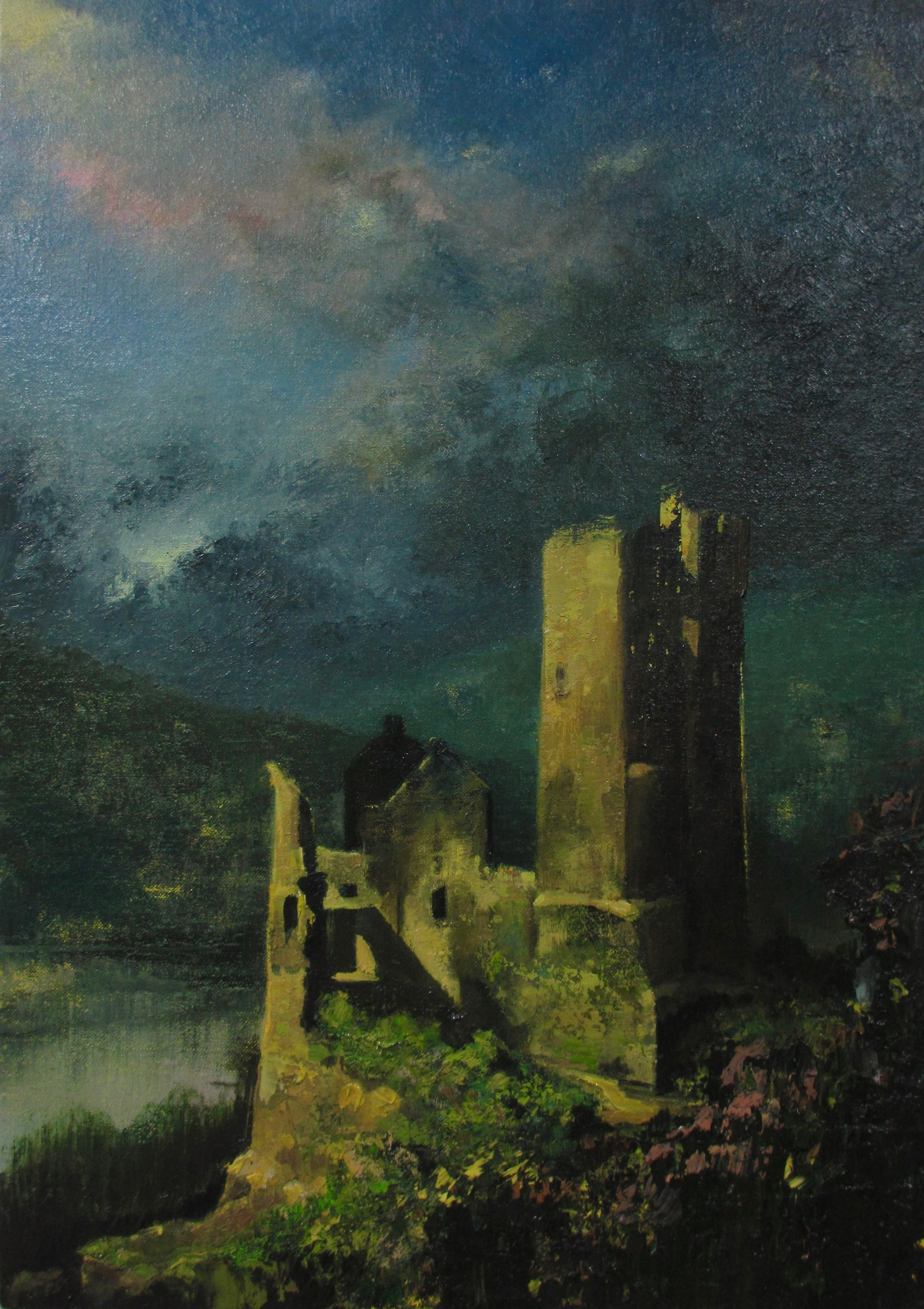 "Wilhelm Neusser  , River/Ruin (1930) , oil on linen, 21"" x 15"" framed, $2,500"