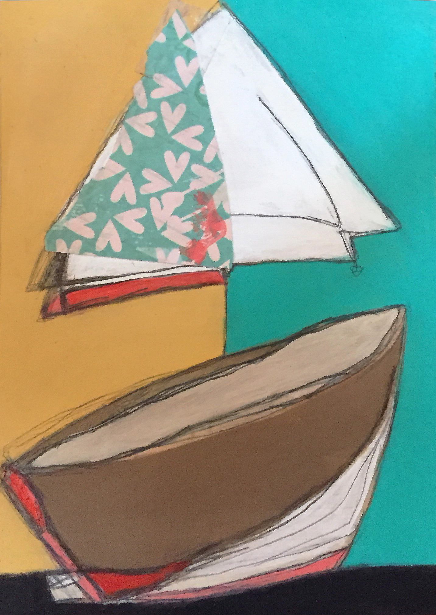 """On the Bay #3 , oil, acrylic, pencil, pastel, crayon, paper, tar, shellac on wood, 7"""" x 5"""", $275"""