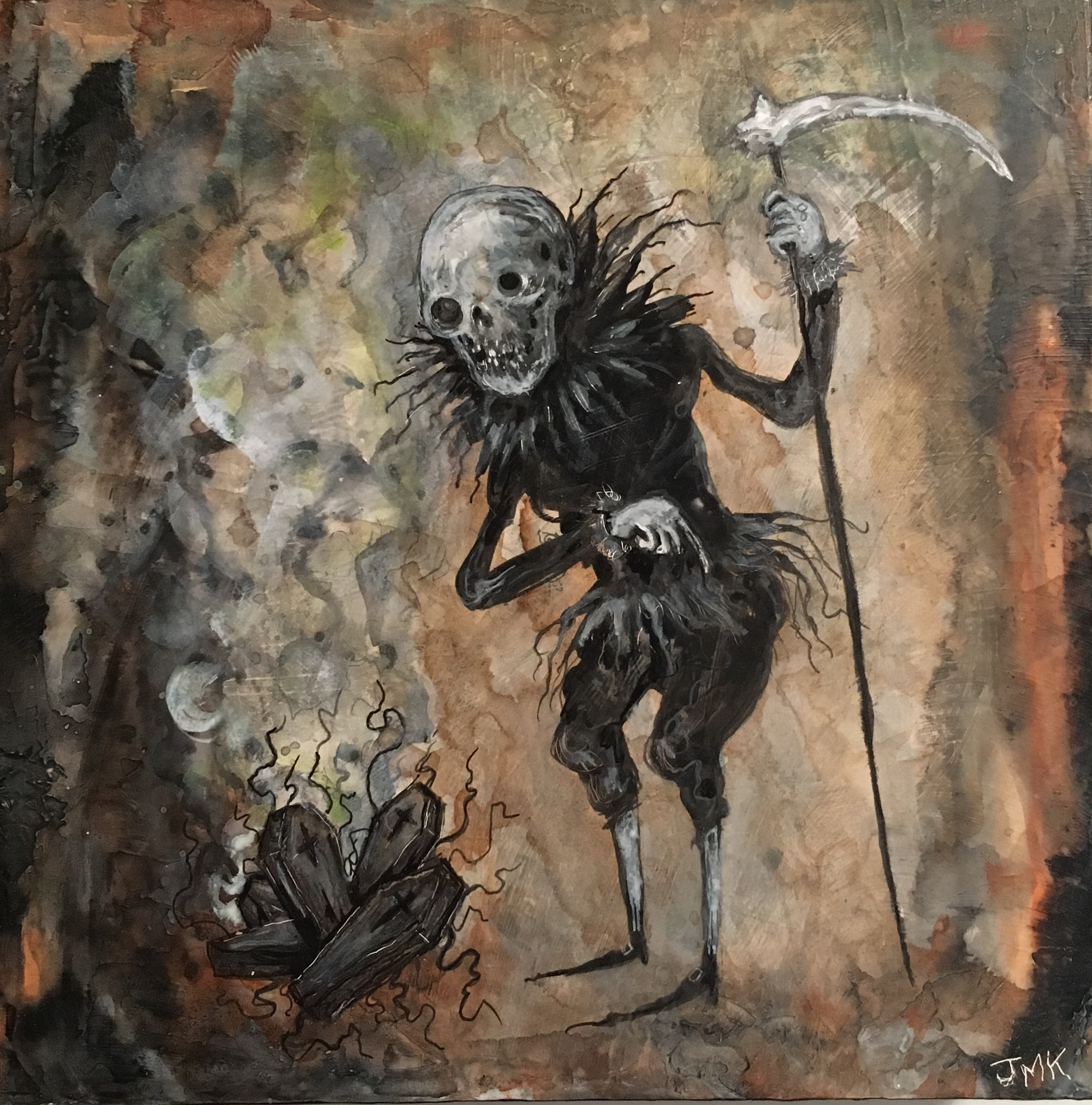 "The Infernal Bard and his prize winning Coffin Worms , acrylic, ink and pencil on wood, 6"" x 6"", $250"