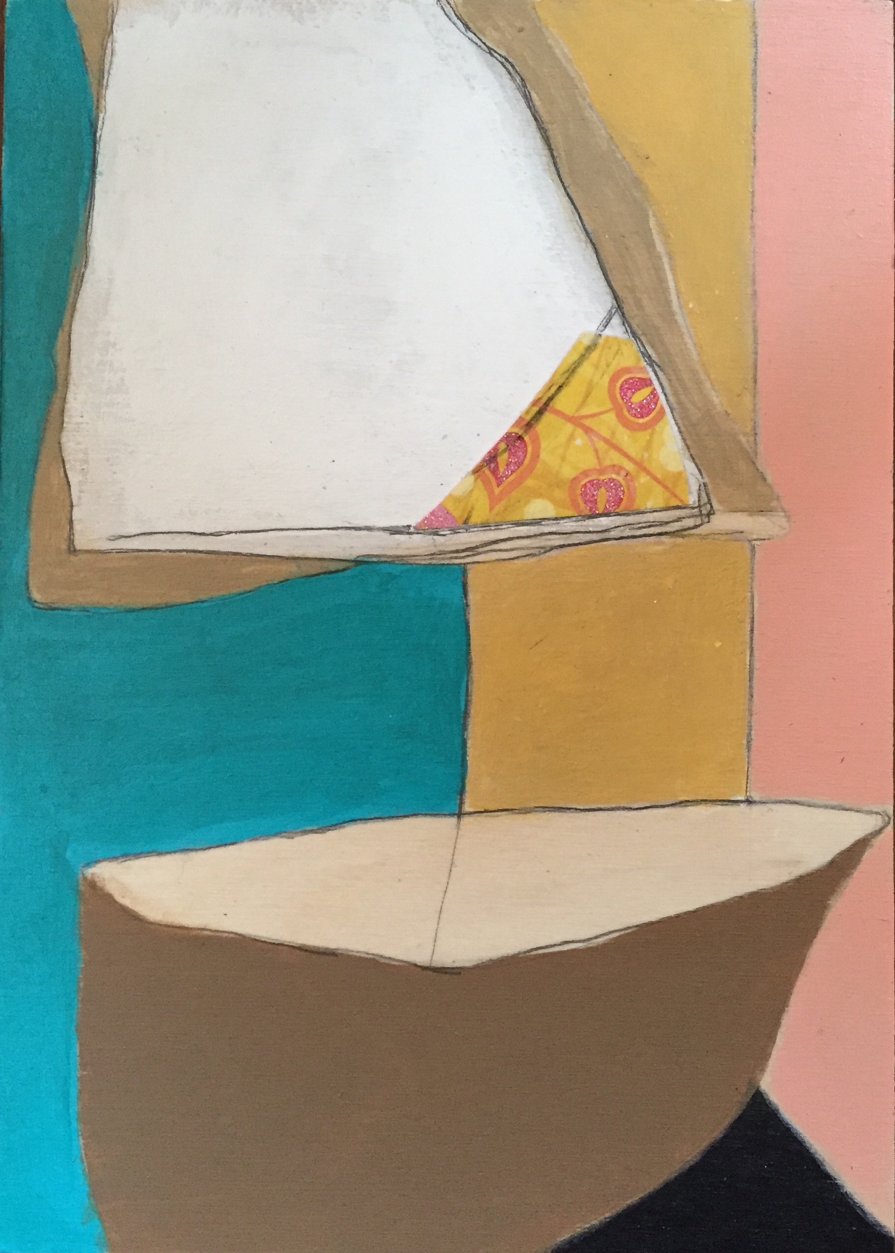 """On the Bay #2 , oil, acrylic, pencil, pastel, crayon, paper, tar, shellac on wood, 7"""" x 5"""", $275"""