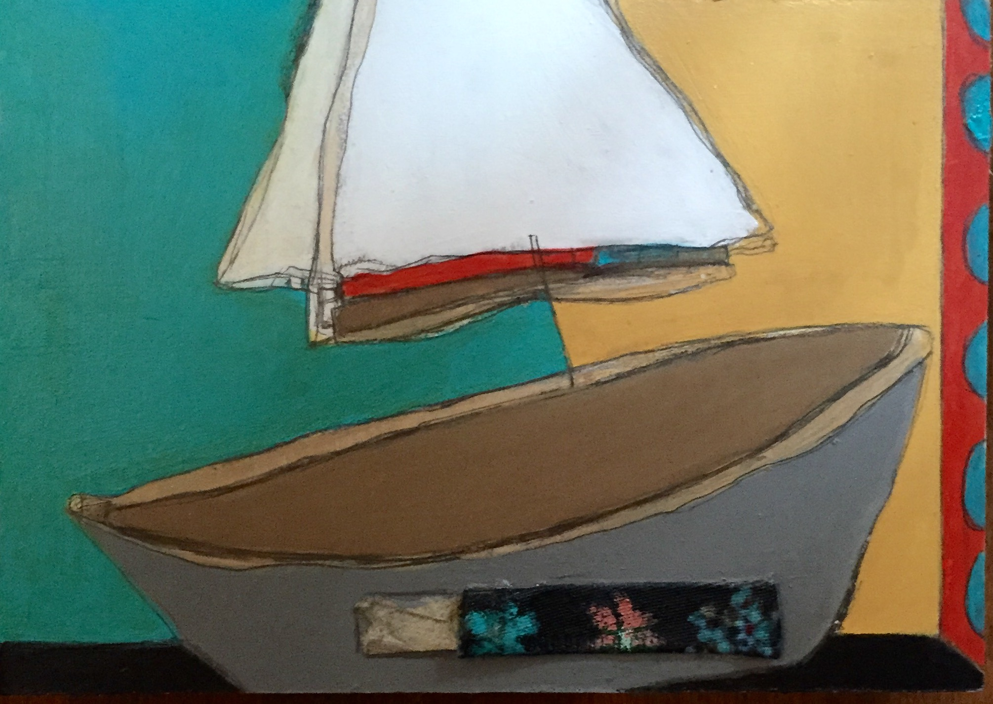 """On the Bay #4 , oil, acrylic, pencil, pastel, crayon, paper, fabric, tar, shellac on wood, 5"""" x 7"""", $275"""