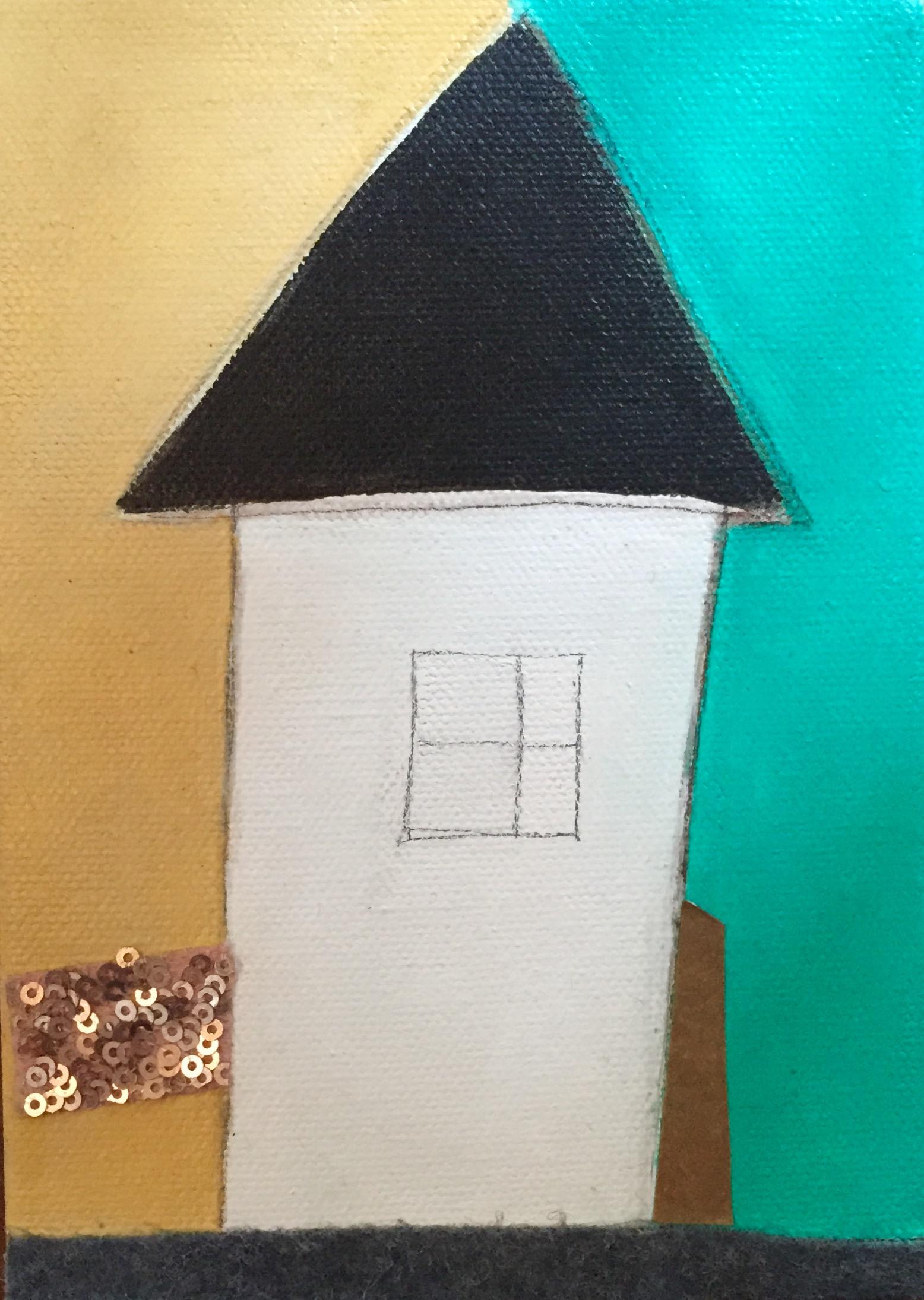 "Vicinity #9 , oil, acrylic, pencil, pastel, tape, sequins, felt, tar, shellac on canvas, 7"" x 5"", $275"