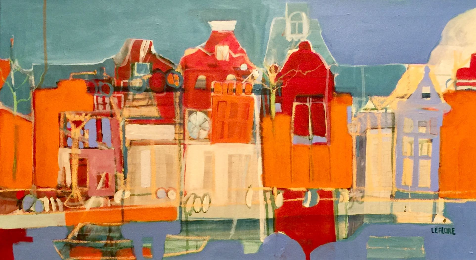 "Bonita LeFlore ,  Amsterdam VI , acrylic and pastel on canvas, 21 1/2"" x 37 1/2"" framed, $1,400"